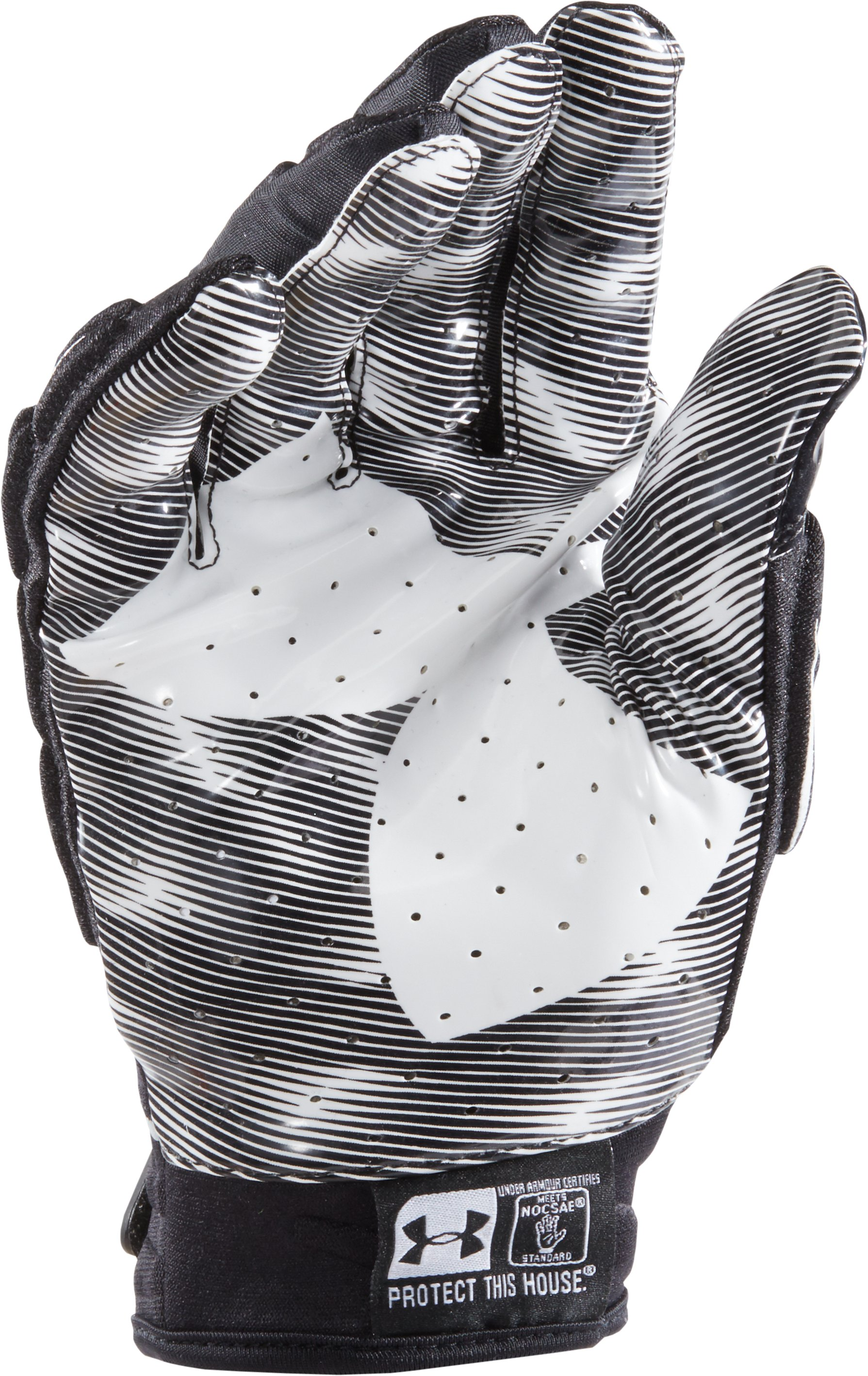 Men's UA Nitro Warp Padded Football Gloves, Black ,