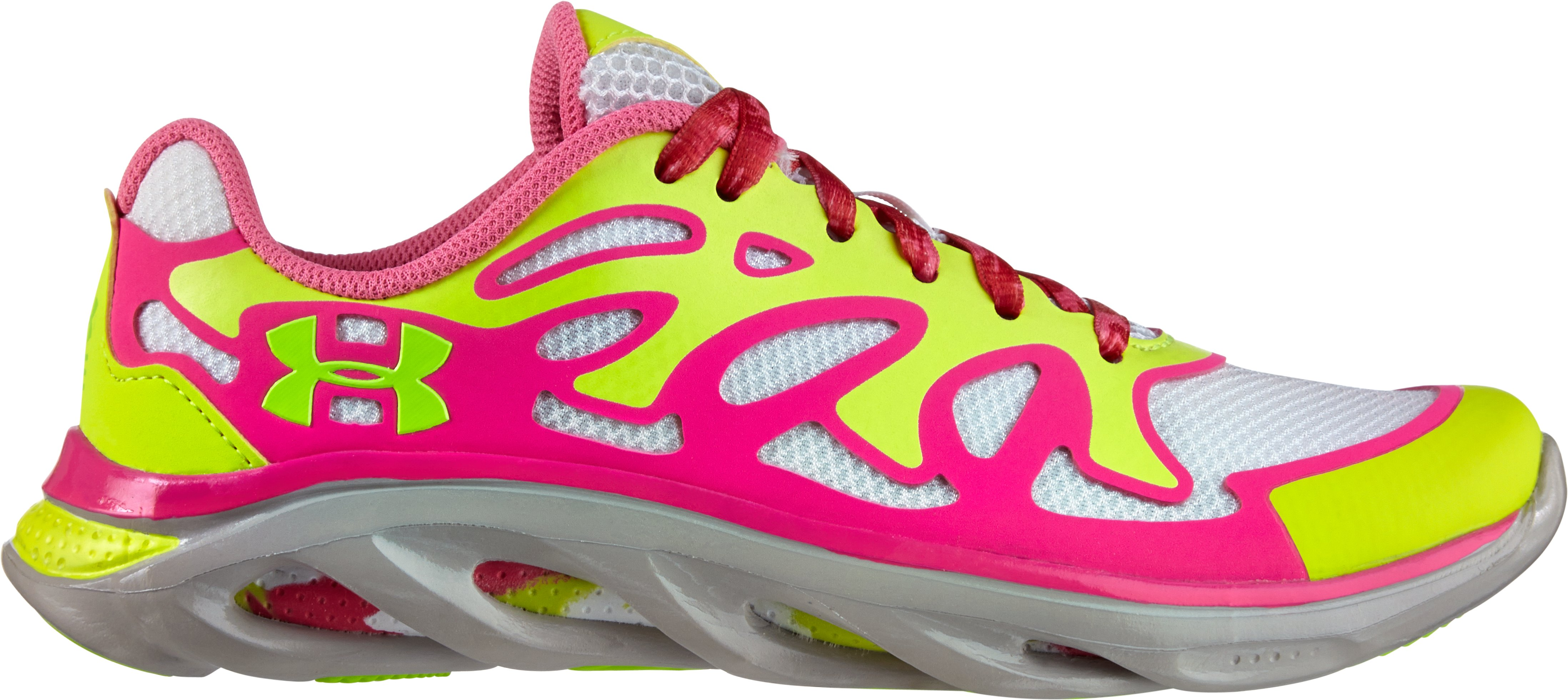 Girls' Grade School Micro G® Spine Evo Running Shoes, High-Vis Yellow, zoomed image