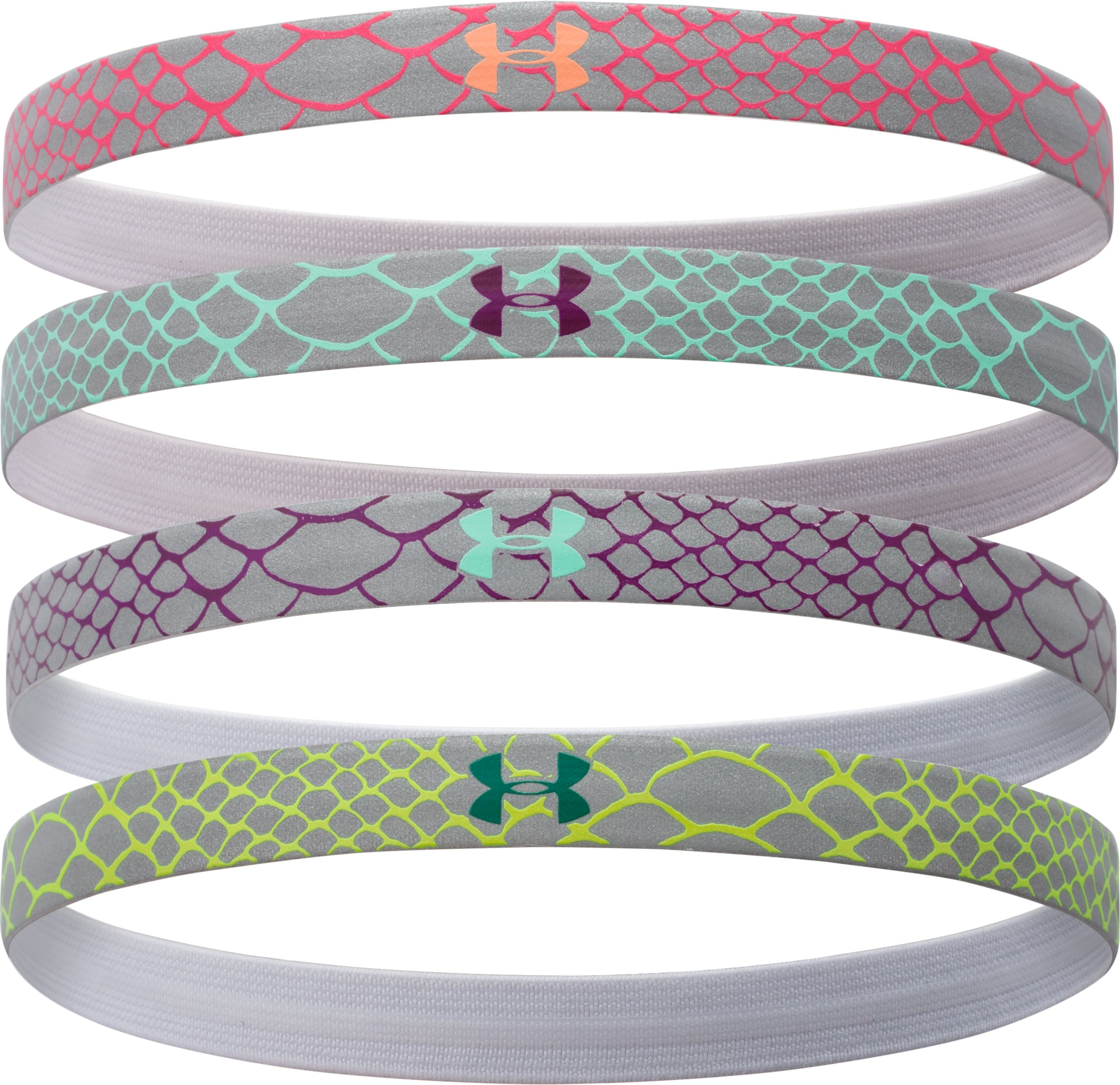 Women's UA Reflective Mini Headband - 4pk, Aubergine,