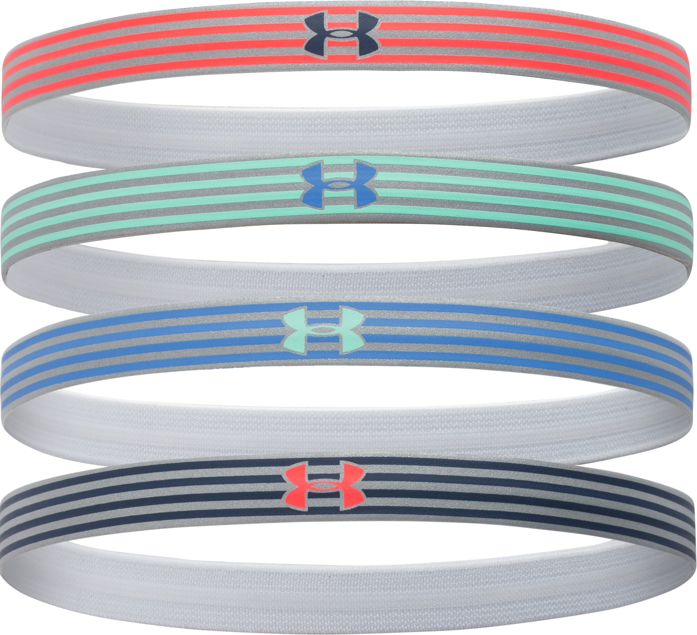 Women's UA Reflective Mini Headband - 4pk, AFTER BURN, zoomed image