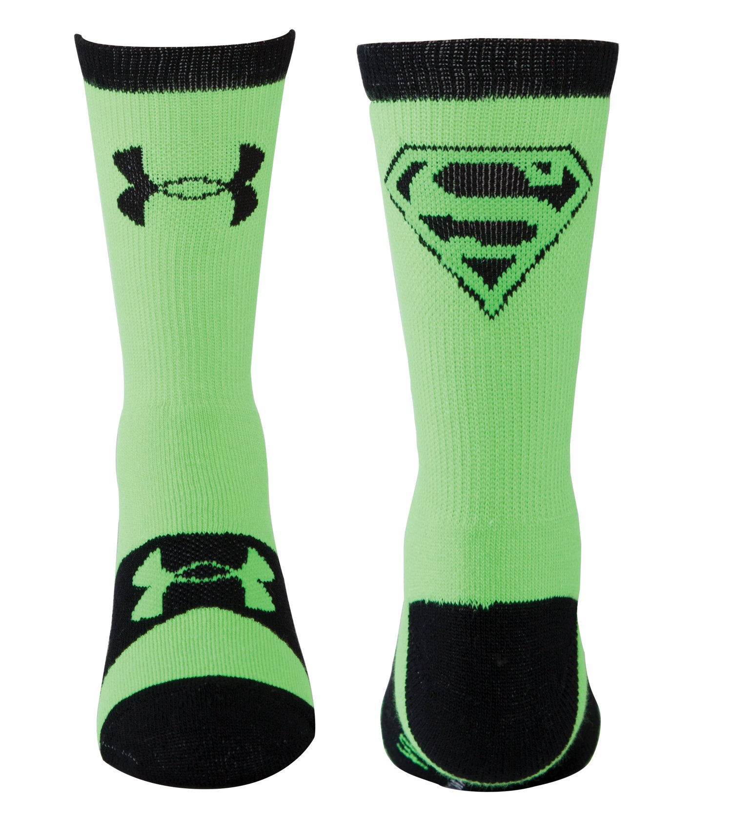 Kids' Under Armour® Alter Ego Superman Crew Socks, HYPER GREEN, zoomed image