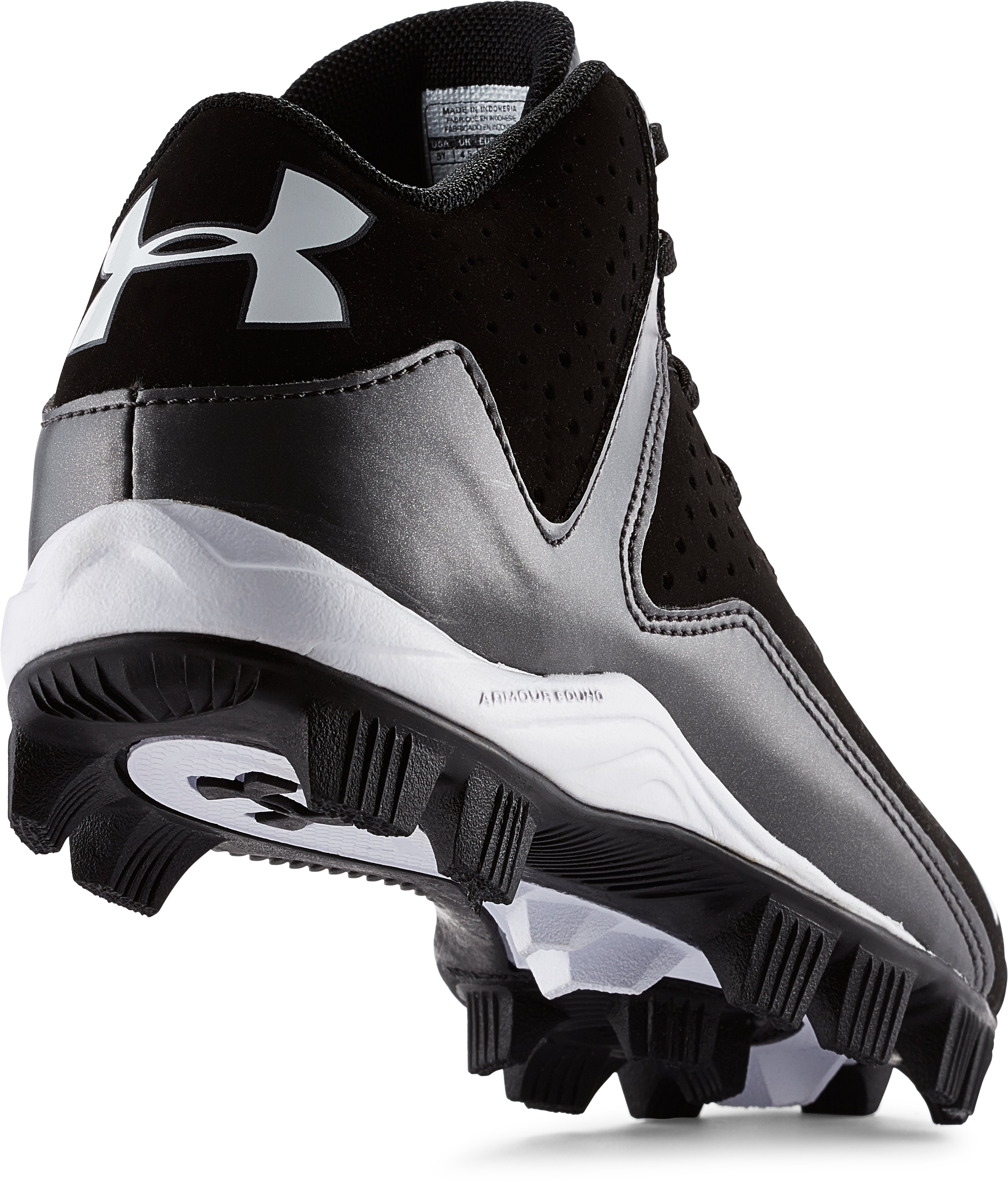 Boys' UA Leadoff Mid RM Baseball Cleats, Black , undefined