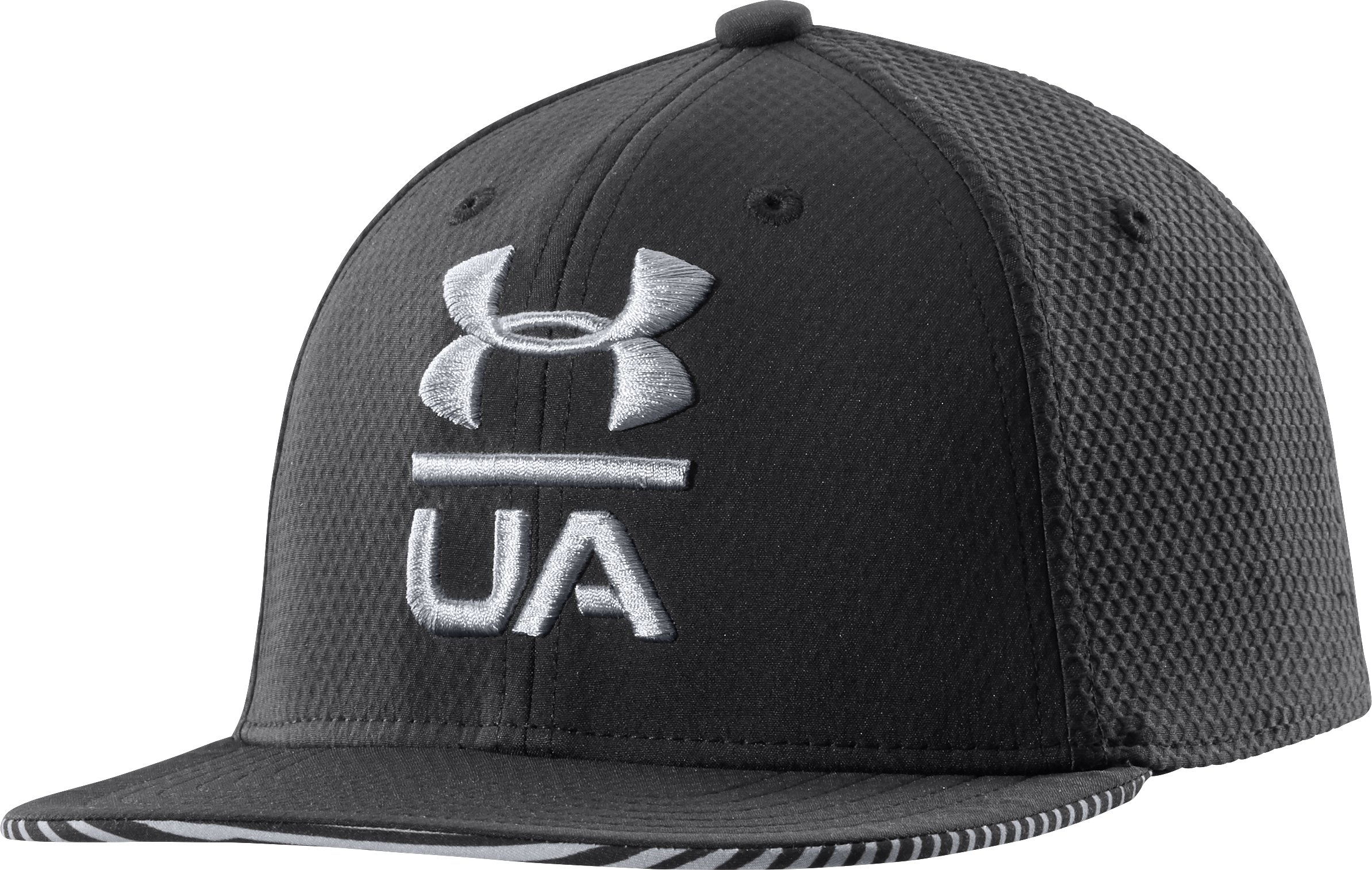 Boys' UA Eyes Up Flat Brim Stretch Fit Cap, Black , undefined