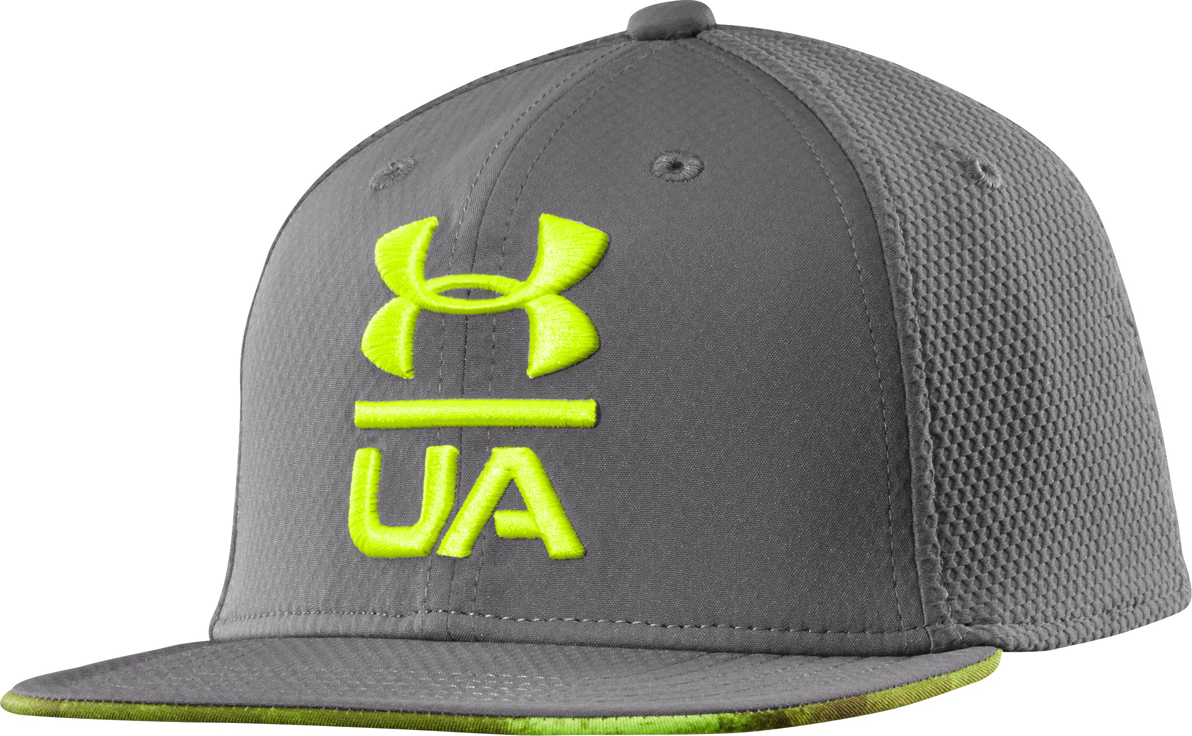 Boys' UA Eyes Up Flat Brim Stretch Fit Cap, Graphite, zoomed image