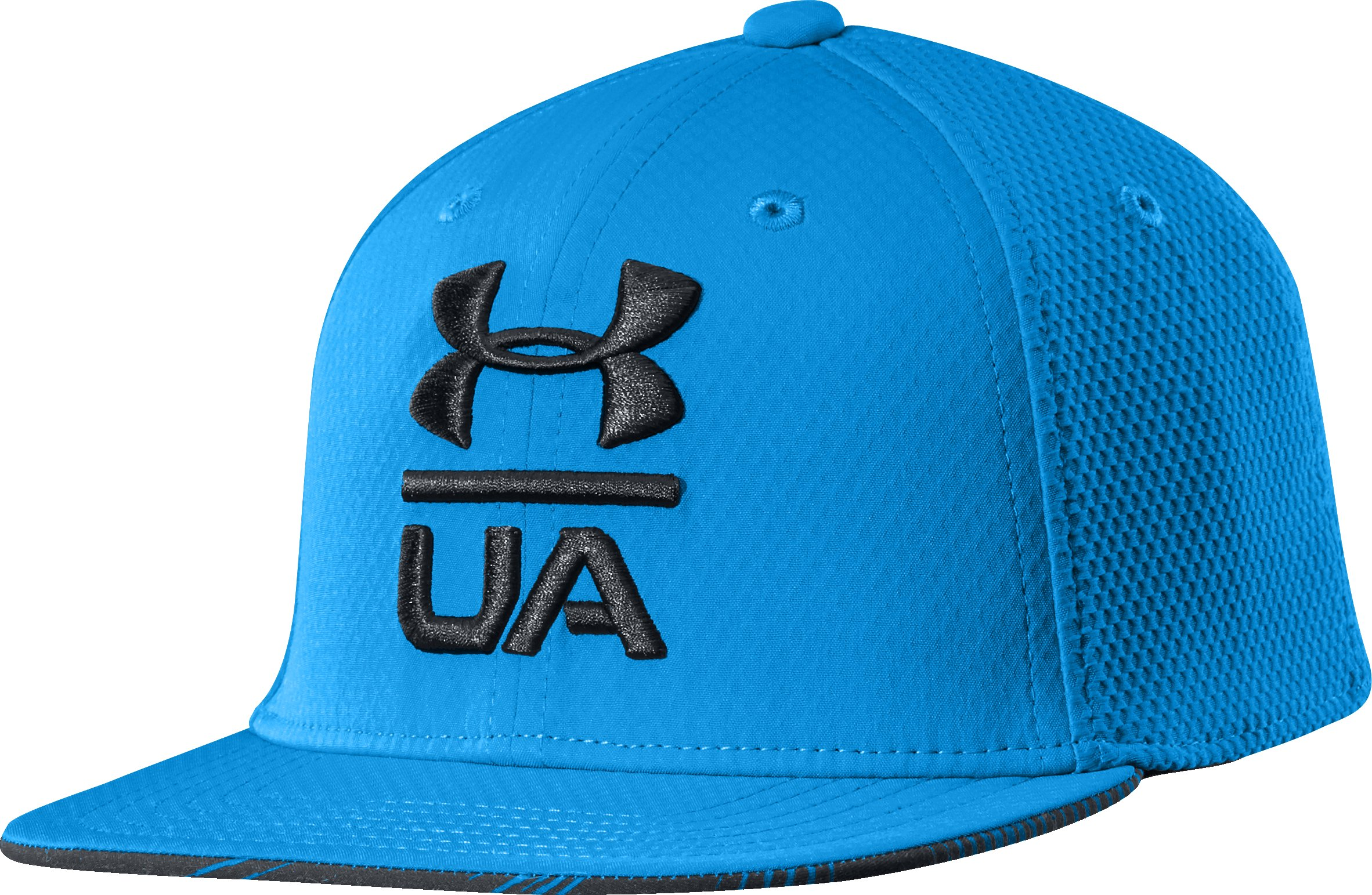 Boys' UA Eyes Up Flat Brim Stretch Fit Cap, ELECTRIC BLUE, zoomed image