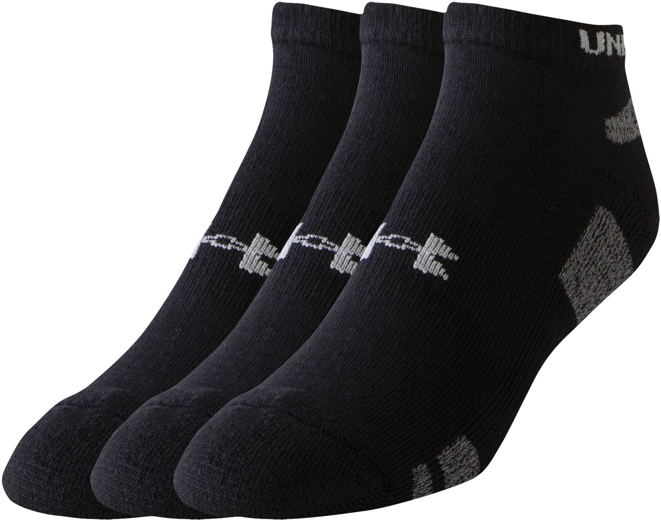 Men's UA HeatGear® No Show Socks – 3-Pack, Black ,