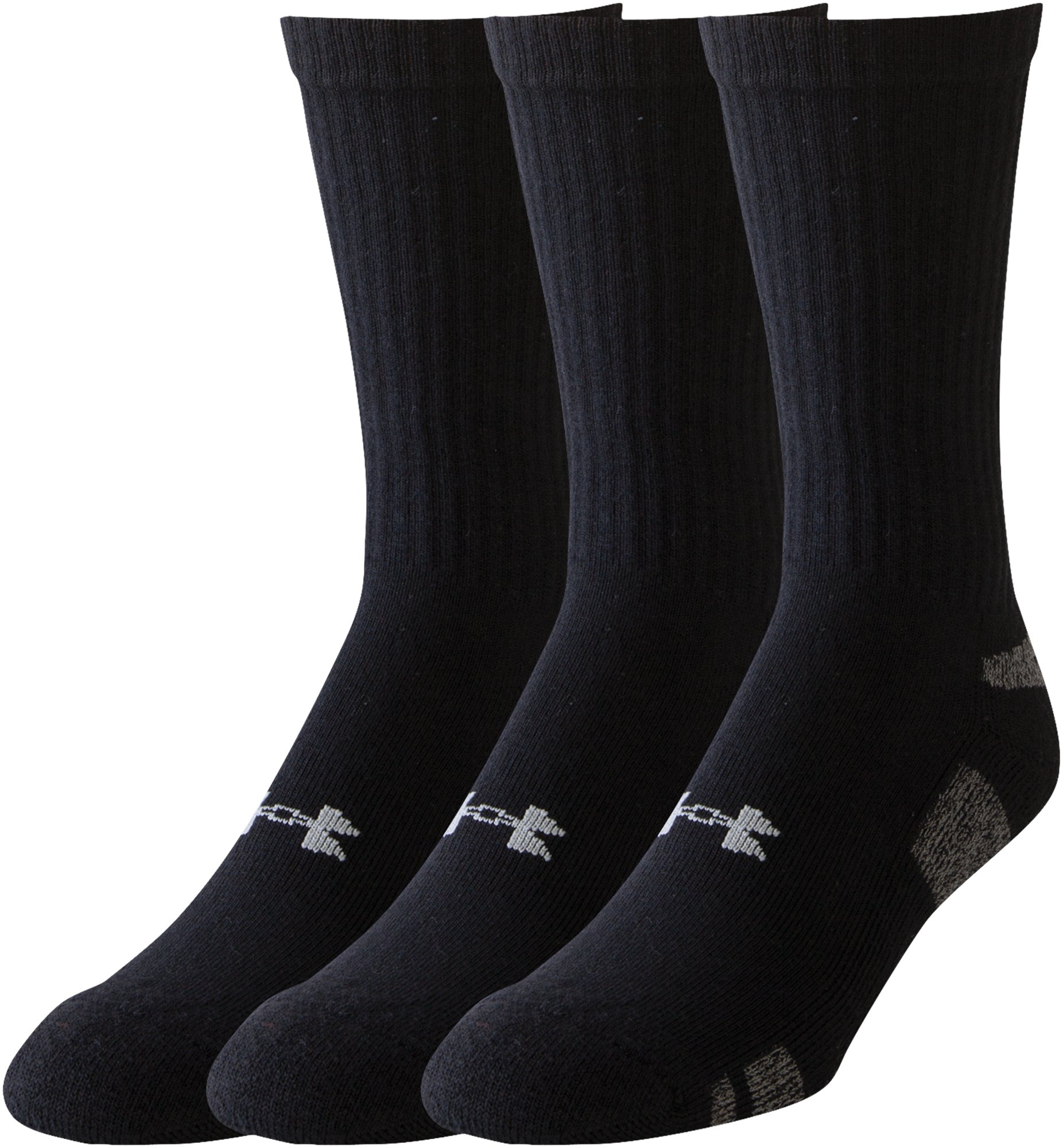 Men's UA HeatGear® Crew Socks 3-Pack, Black , zoomed image
