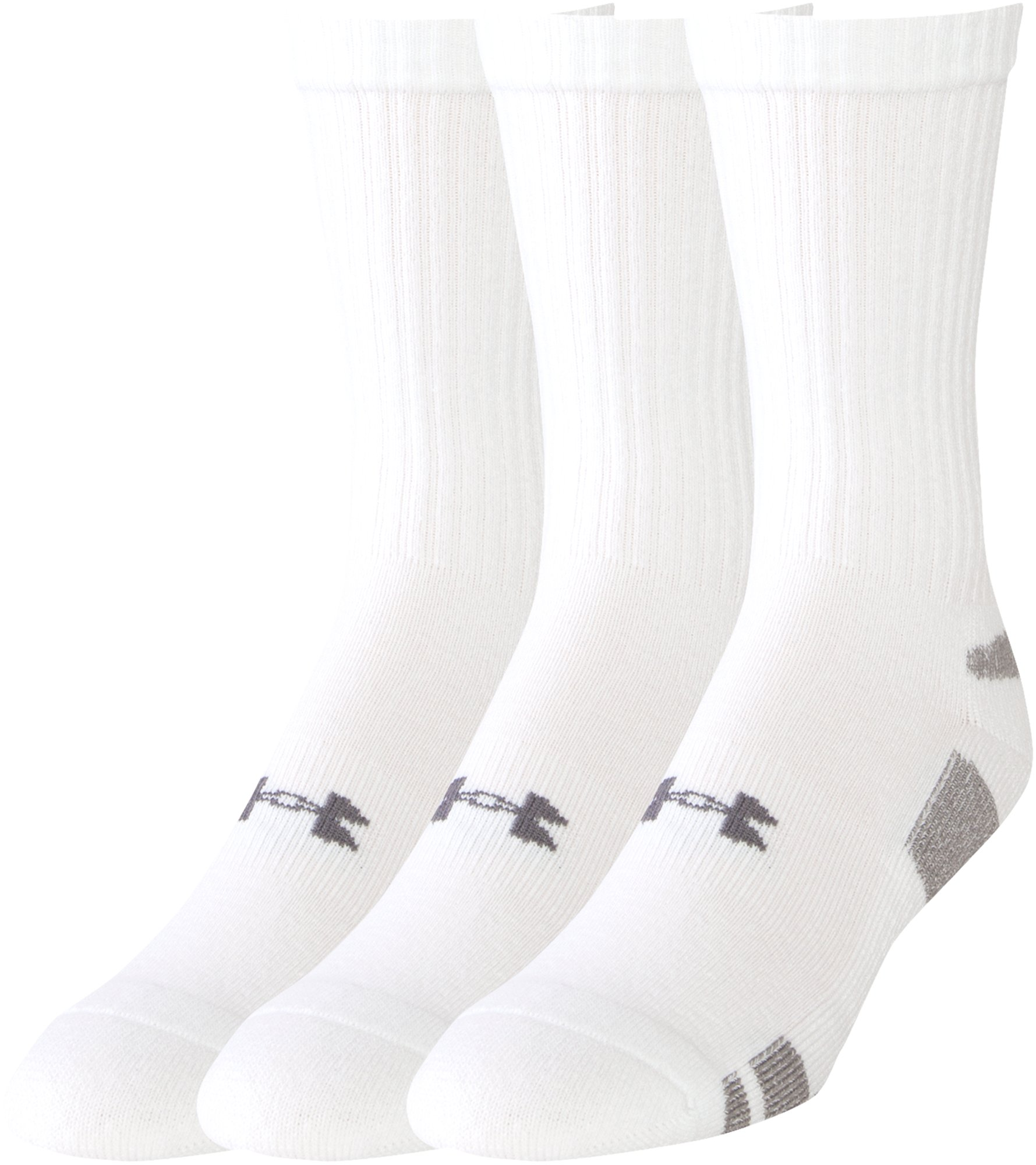 Men's UA HeatGear® Crew Socks – 3-Pack, White