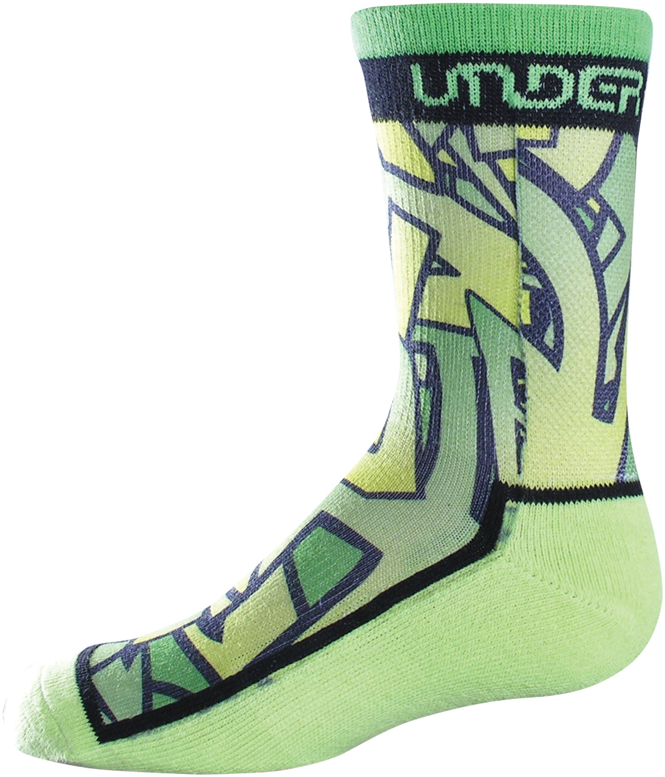 Boys' UA Pixaprint Sublimated Crew Socks, High-Vis Yellow