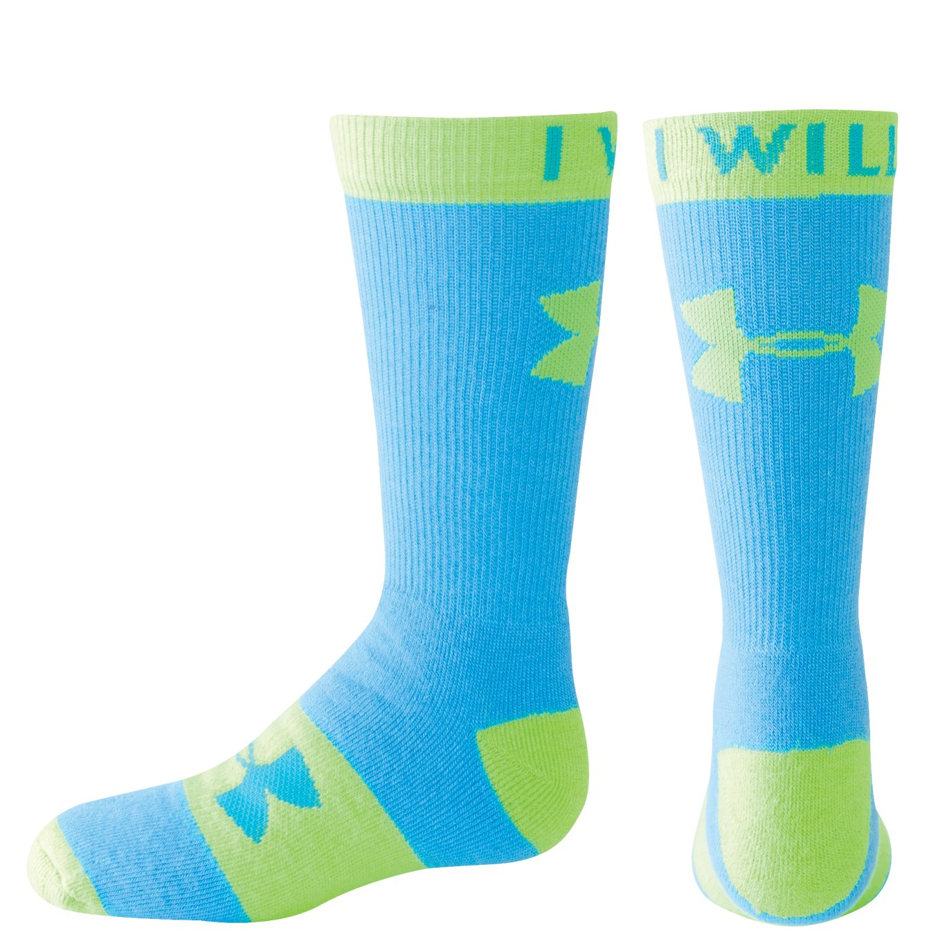 Girls' UA I Will Crew Sock, Blue, zoomed image