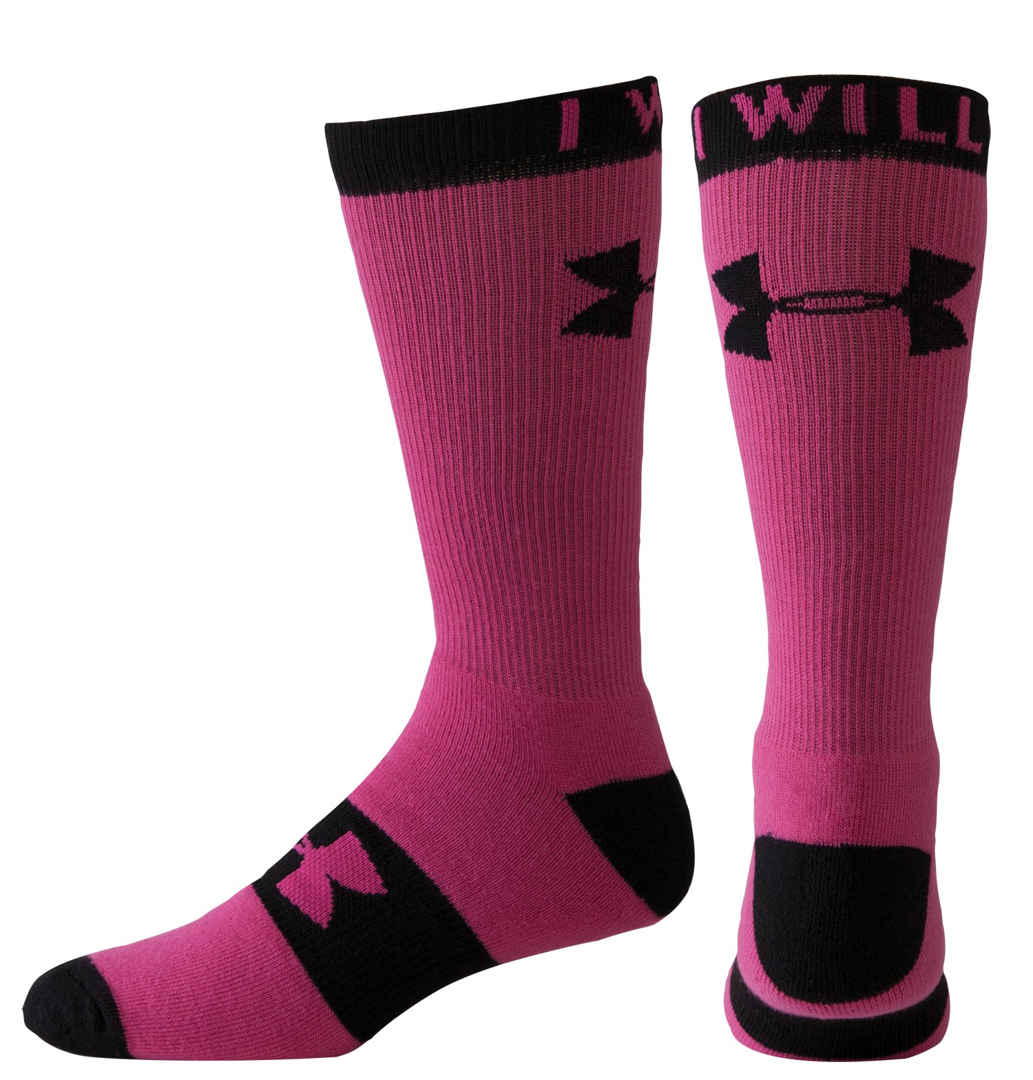 Women's UA I Will Crew Socks, Tropic Pink, zoomed image