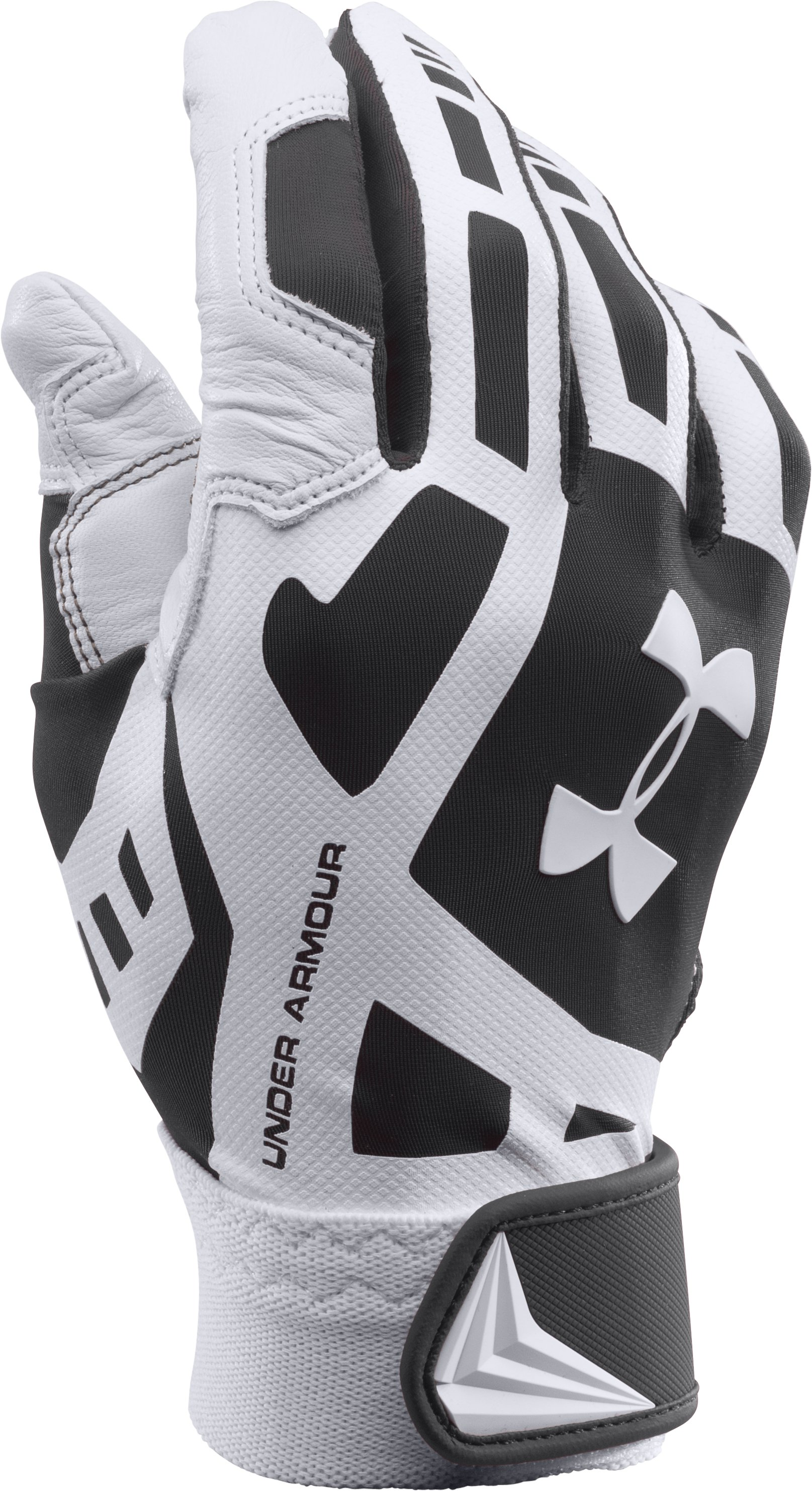 Boys' UA Cage Baseball Batting Gloves, Black