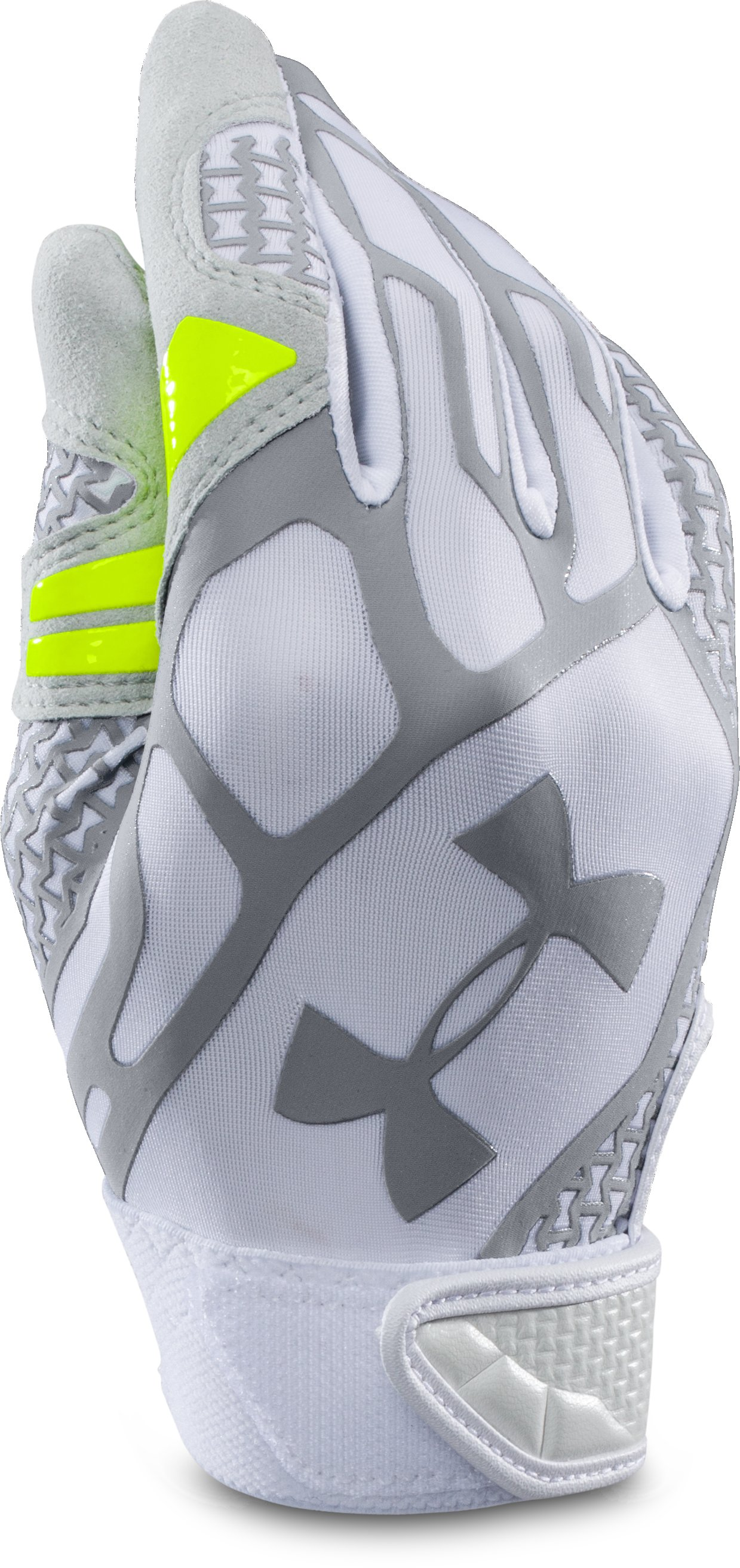 Boys' UA Motive II Baseball Batting Gloves, White, zoomed image
