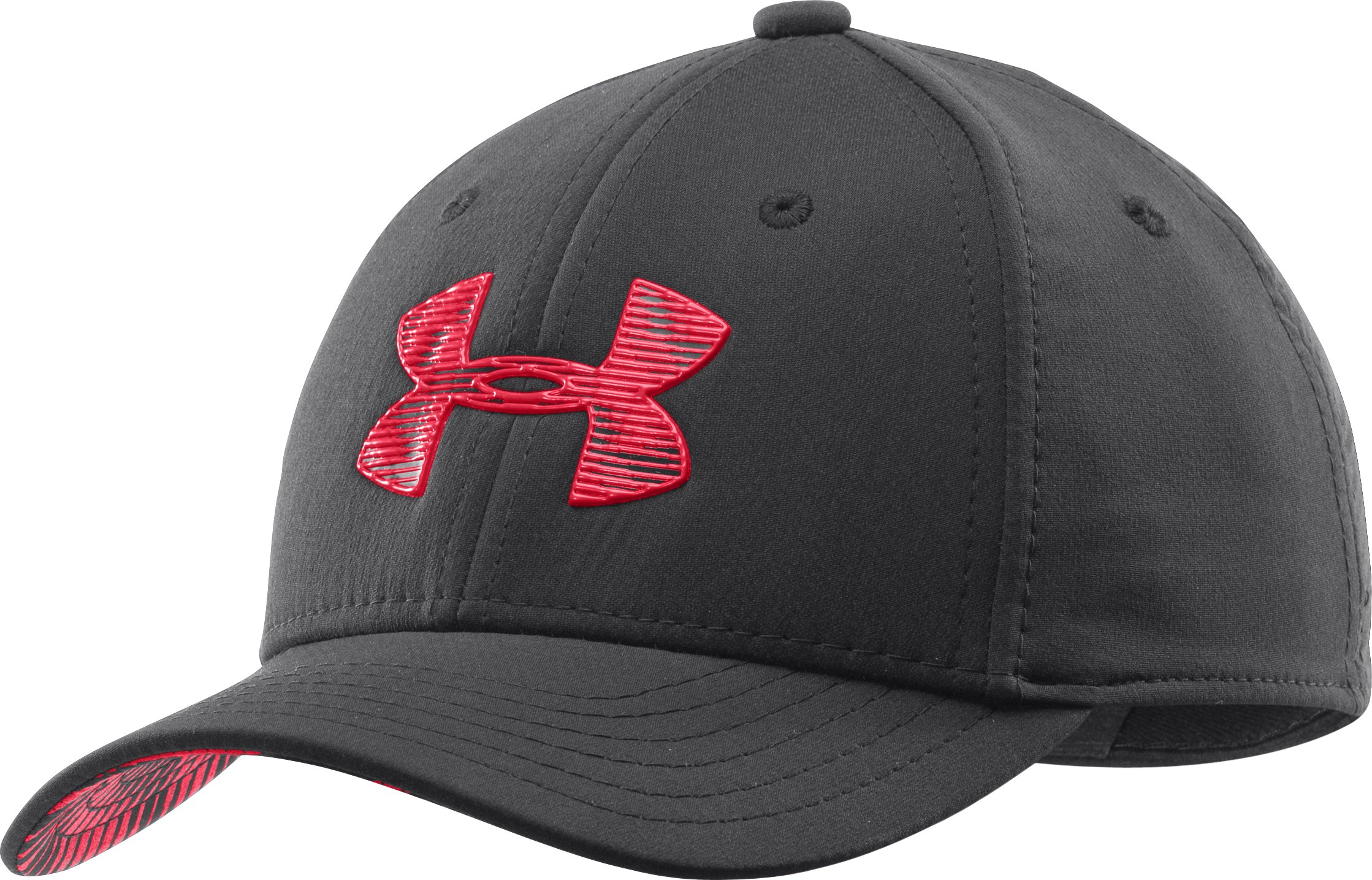 Boys' UA Textured Logo Stretch Fit Cap, Black , zoomed image