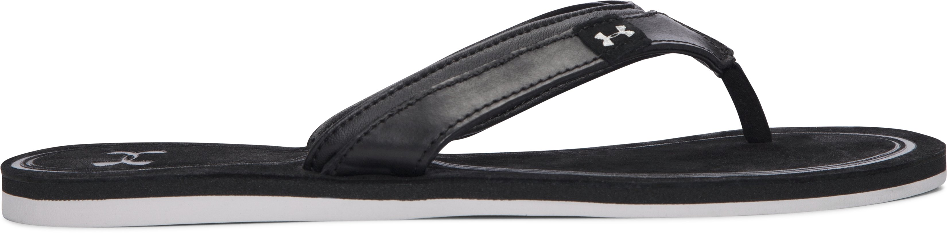 Women's UA TropicFlo Leather Sandals, Black , undefined
