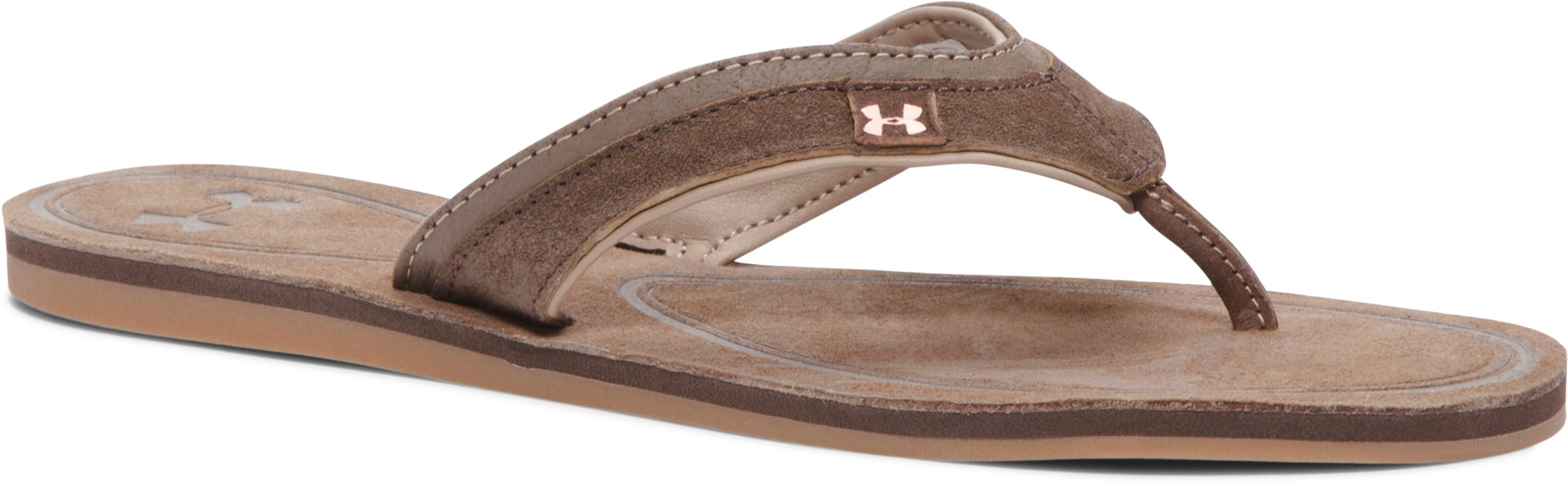 Women's UA TropicFlo Leather Sandals, Cleveland Brown, zoomed image