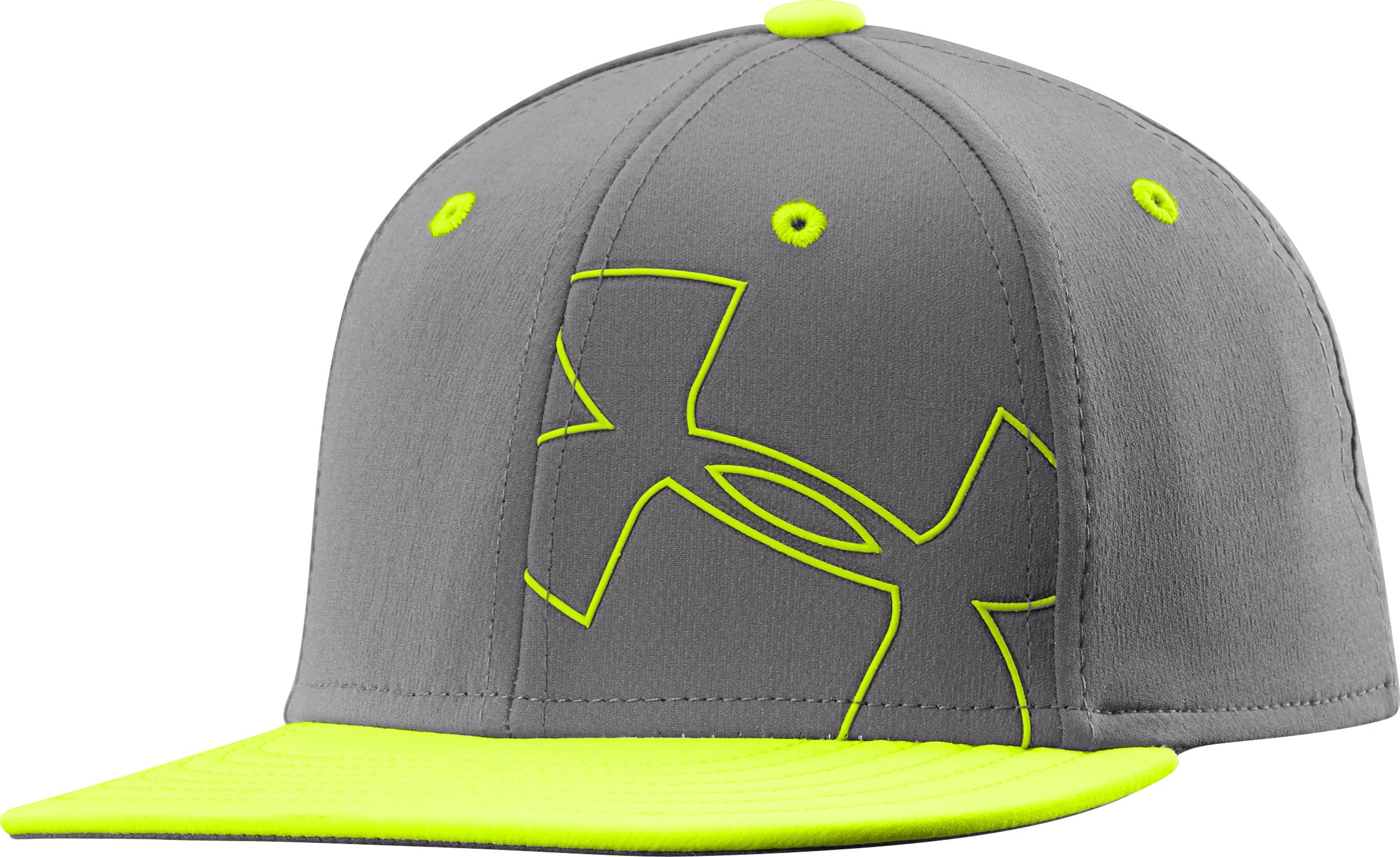 Boys' UA Glow-In-The-Dark Flat Brim Stretch Fit Cap, Graphite,