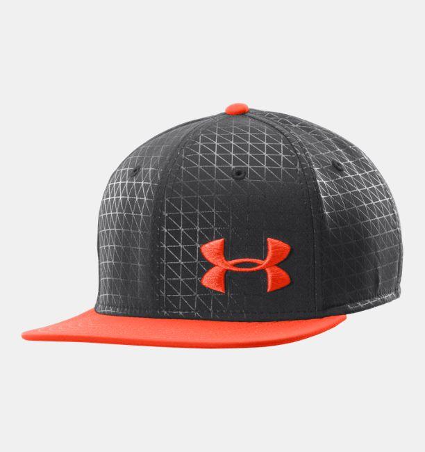 Men s ua printed flat brim stretch fit cap under armour us for Flat bill fishing hats
