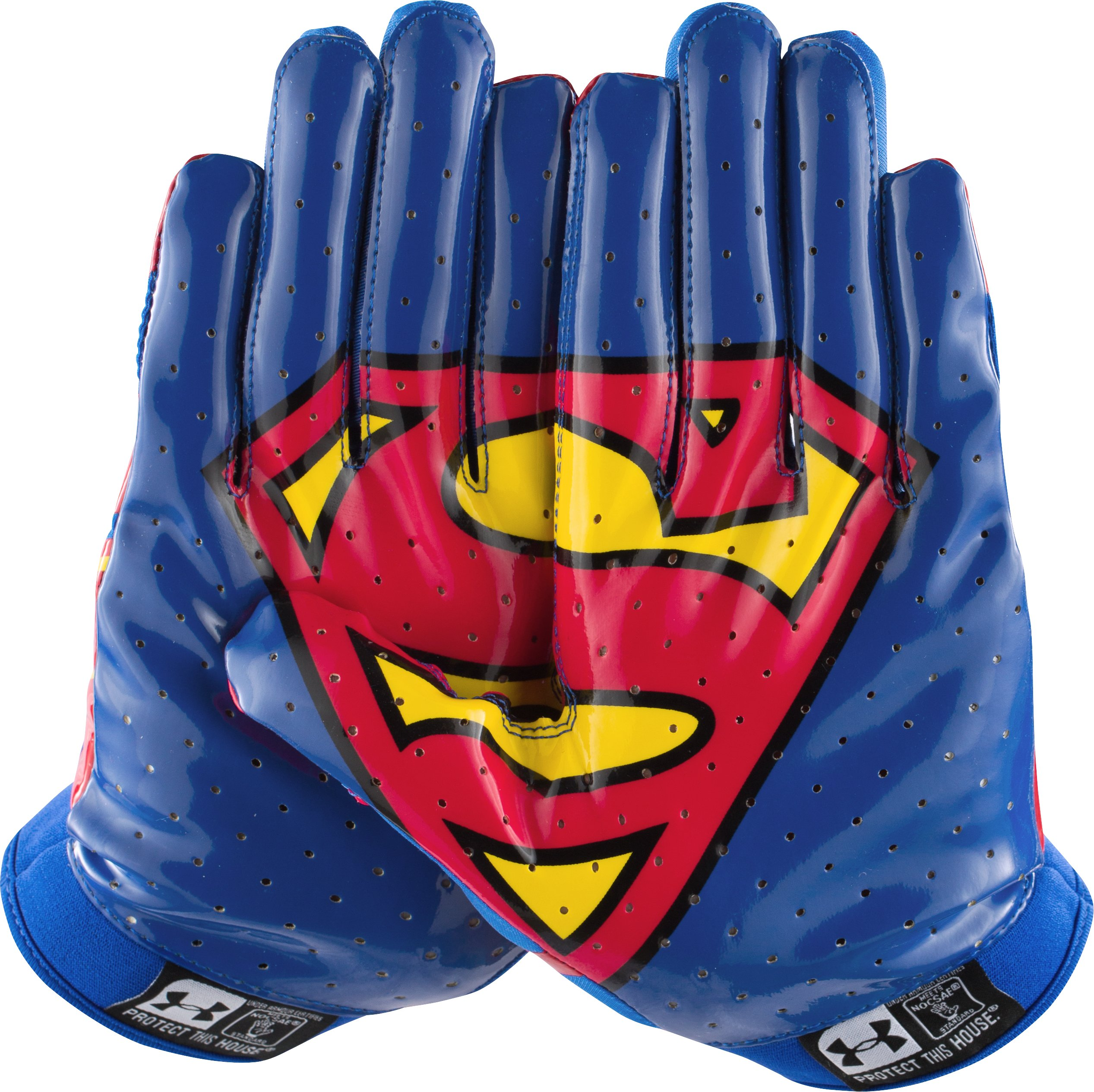 Men's Under Armour® Superman F4 Football Gloves, Royal, undefined