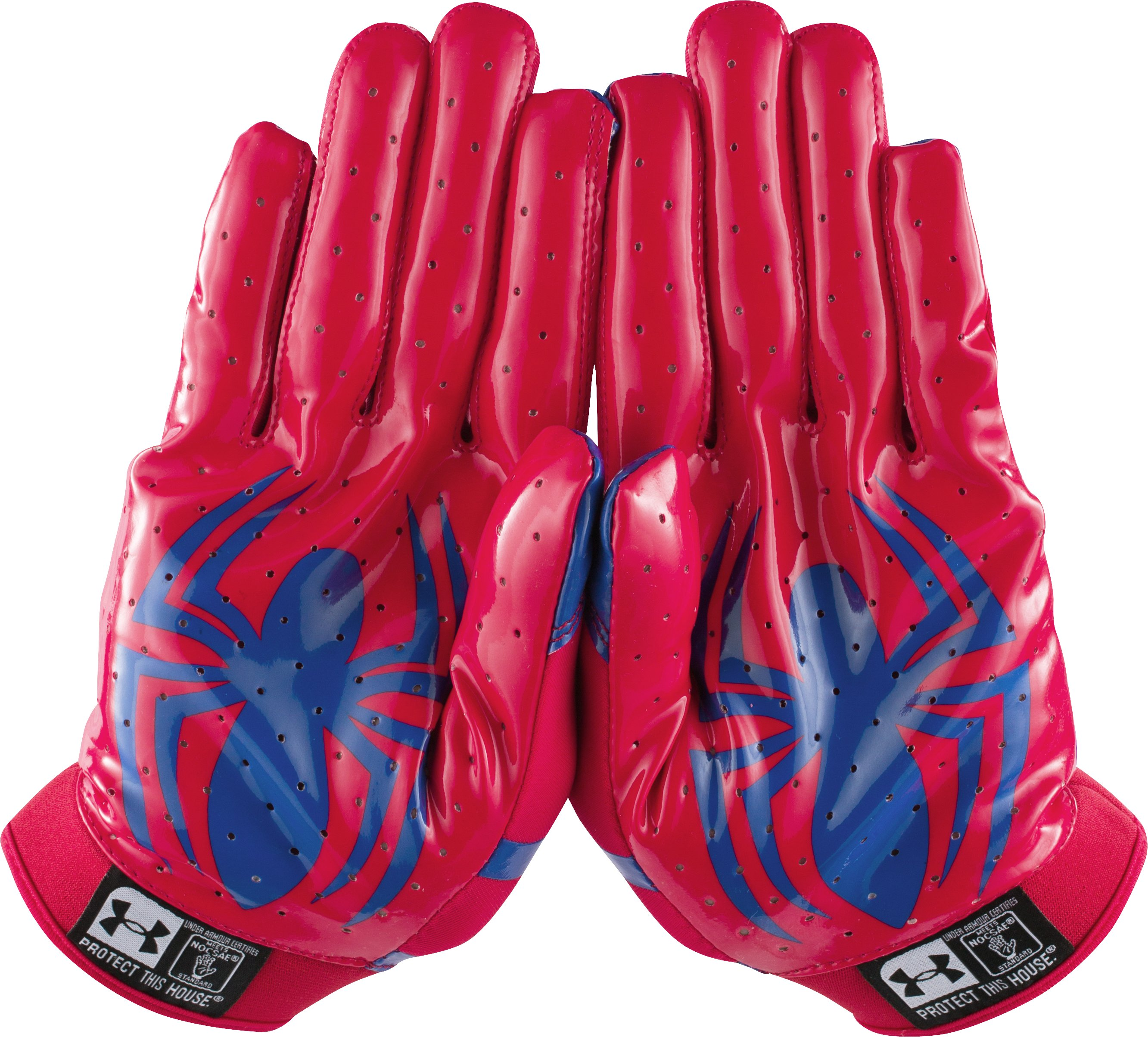 Men's Under Armour® Alter Ego F4 Football Gloves, Red, zoomed image