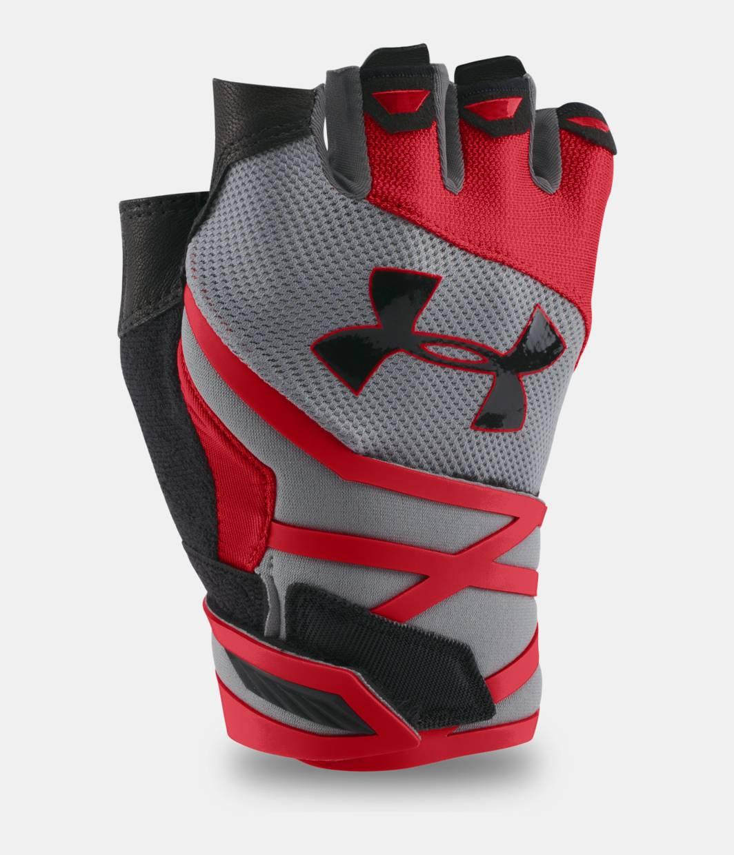 Under armour leather work gloves - Men S Ua Resistor Half Finger Training Gloves Steel Zoomed Image