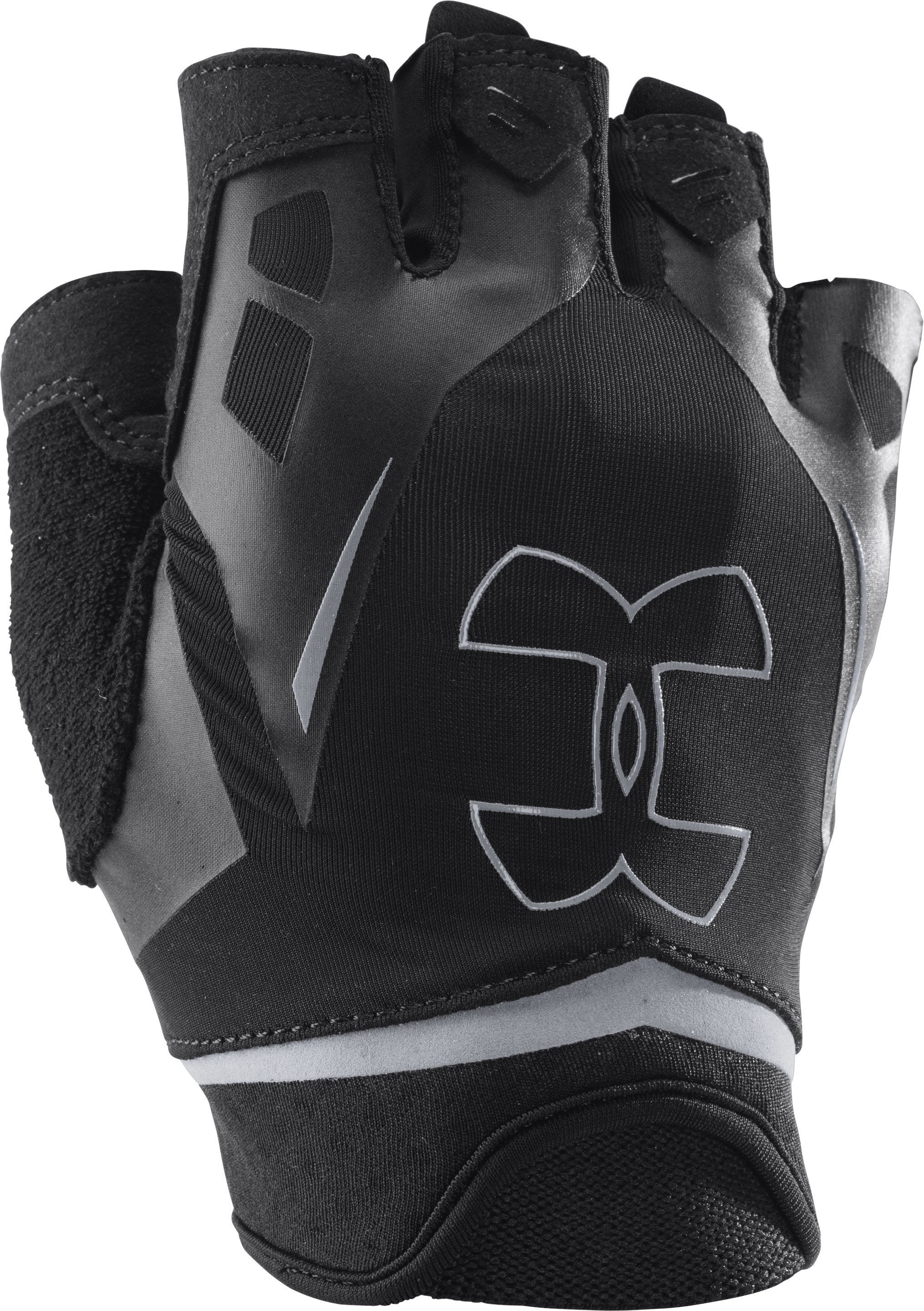 half finger gloves Men's UA Flux Half-Finger Training Gloves Nicely improved training gloves...They seem to hold up ok....No straps and nothing unnecessary.