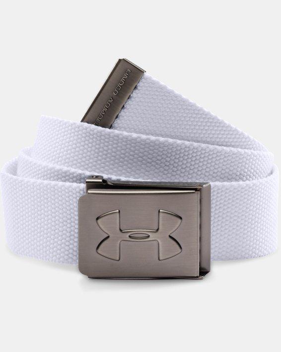 Boys' UA Webbed Belt, White, pdpMainDesktop image number 0