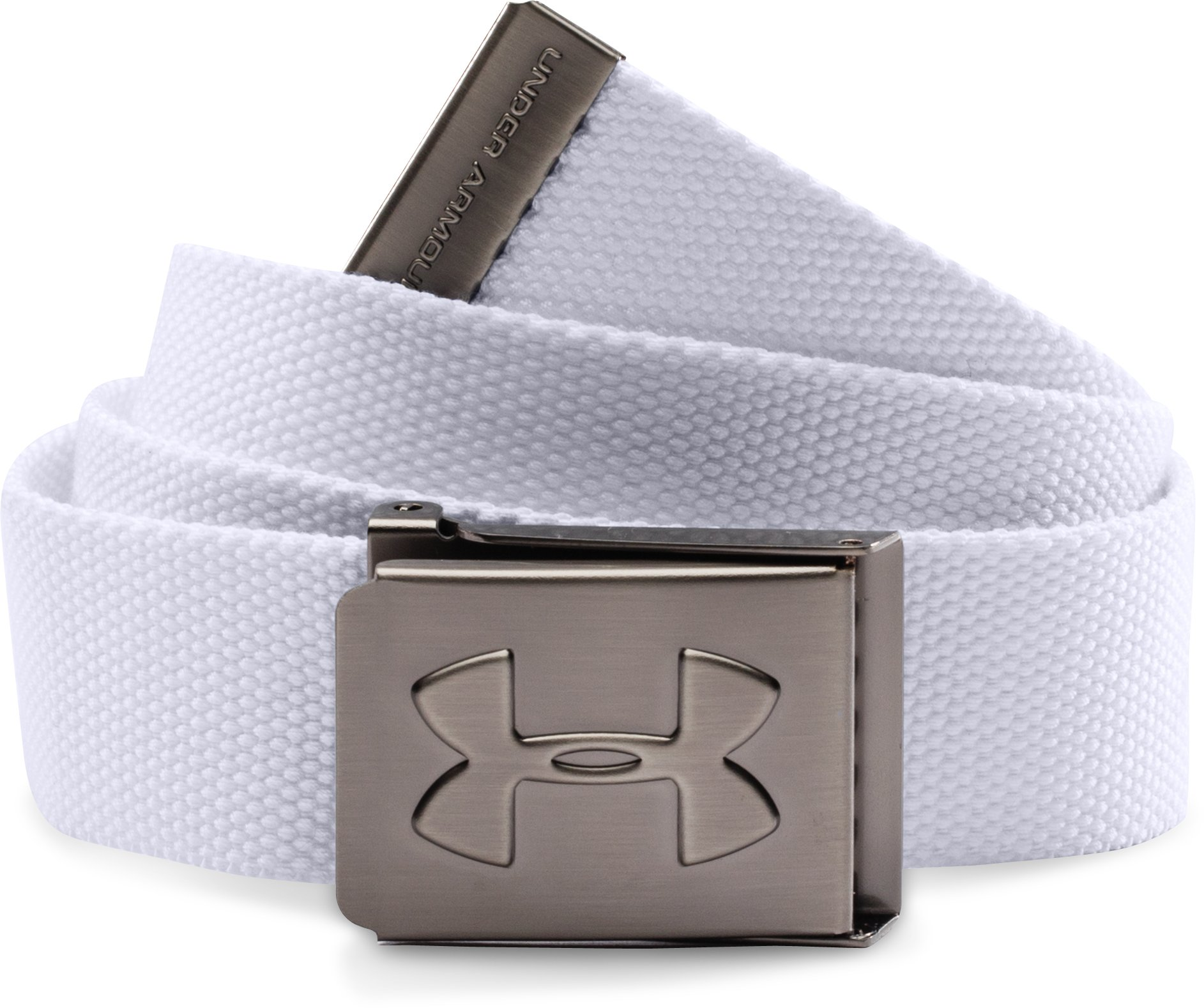 Boys' UA Webbed Belt, White, zoomed image