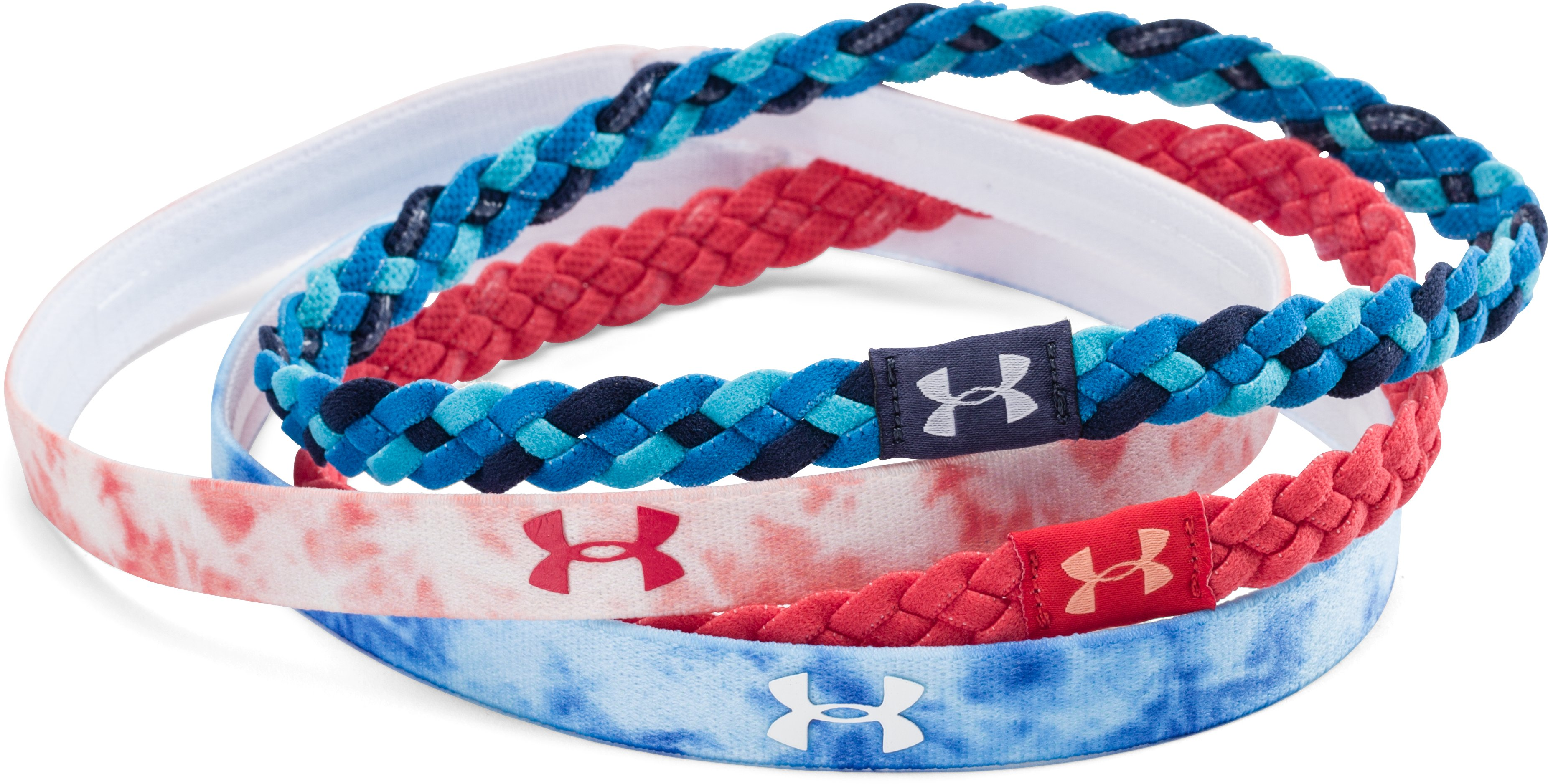 Women's UA Graphic Braided Headband - 4 Pack, FADED INK, undefined