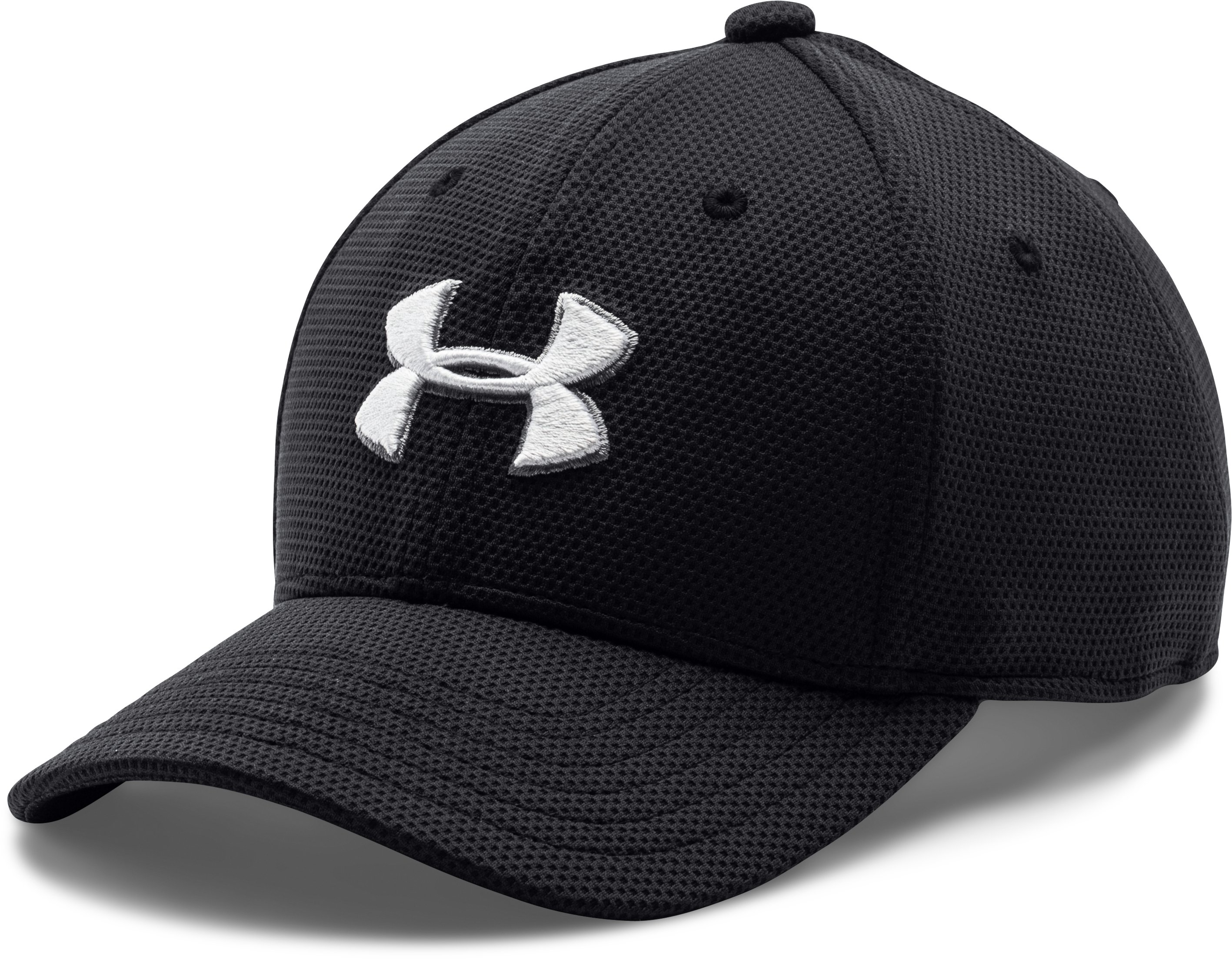 Boys' UA Blitzing II Stretch Fit Cap, Black , zoomed image
