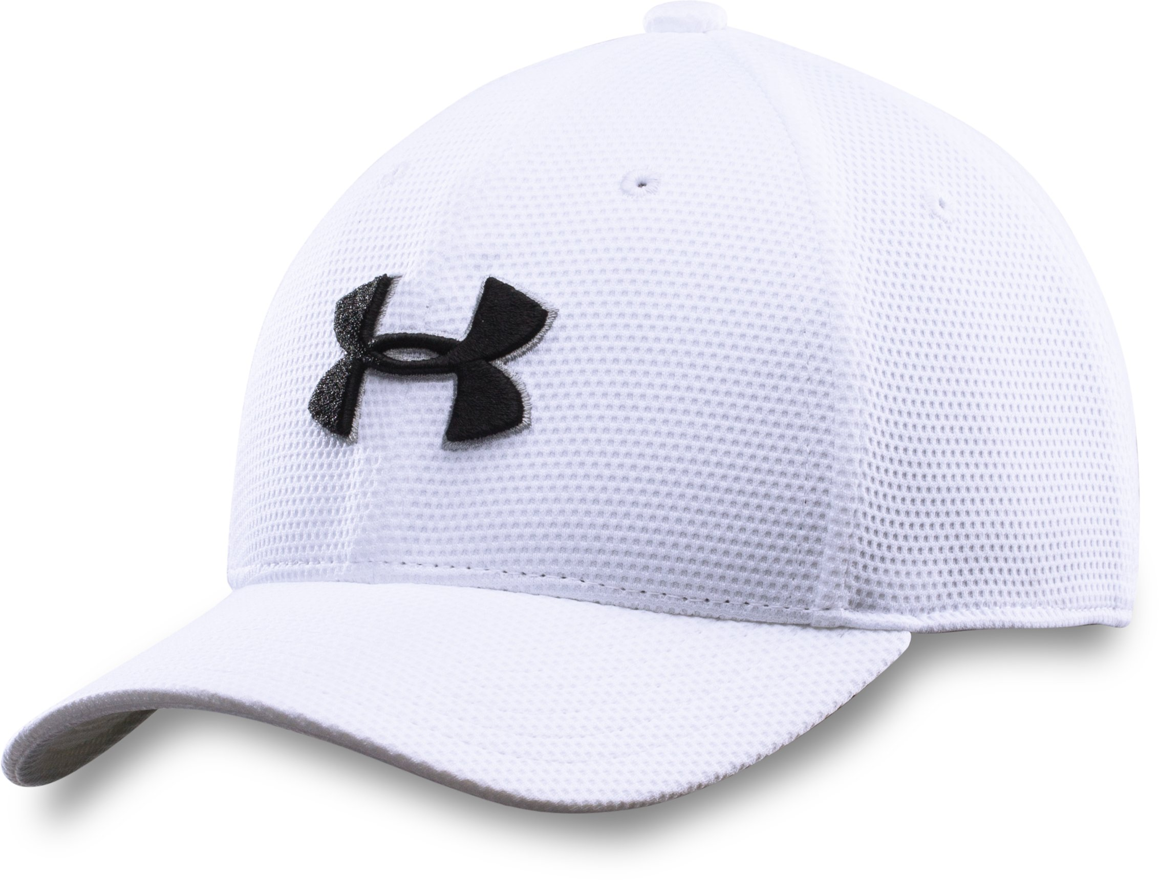Boys' UA Blitzing II Stretch Fit Cap, White, zoomed image