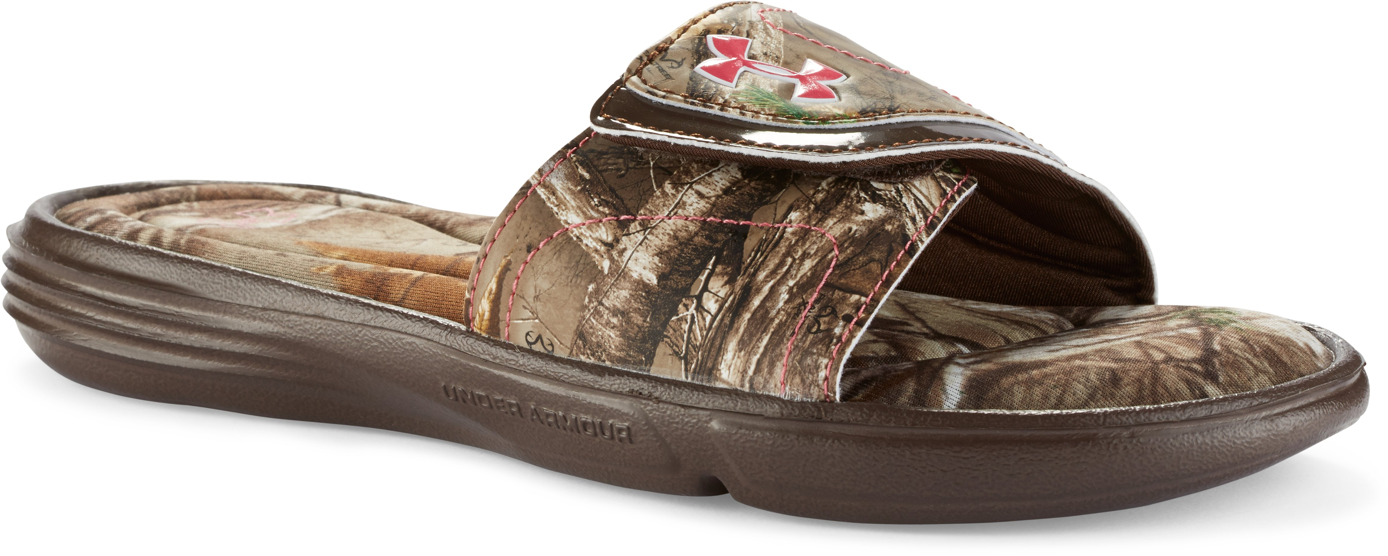 Girls' UA Ignite VII Camo Sandals, Cleveland Brown, zoomed image