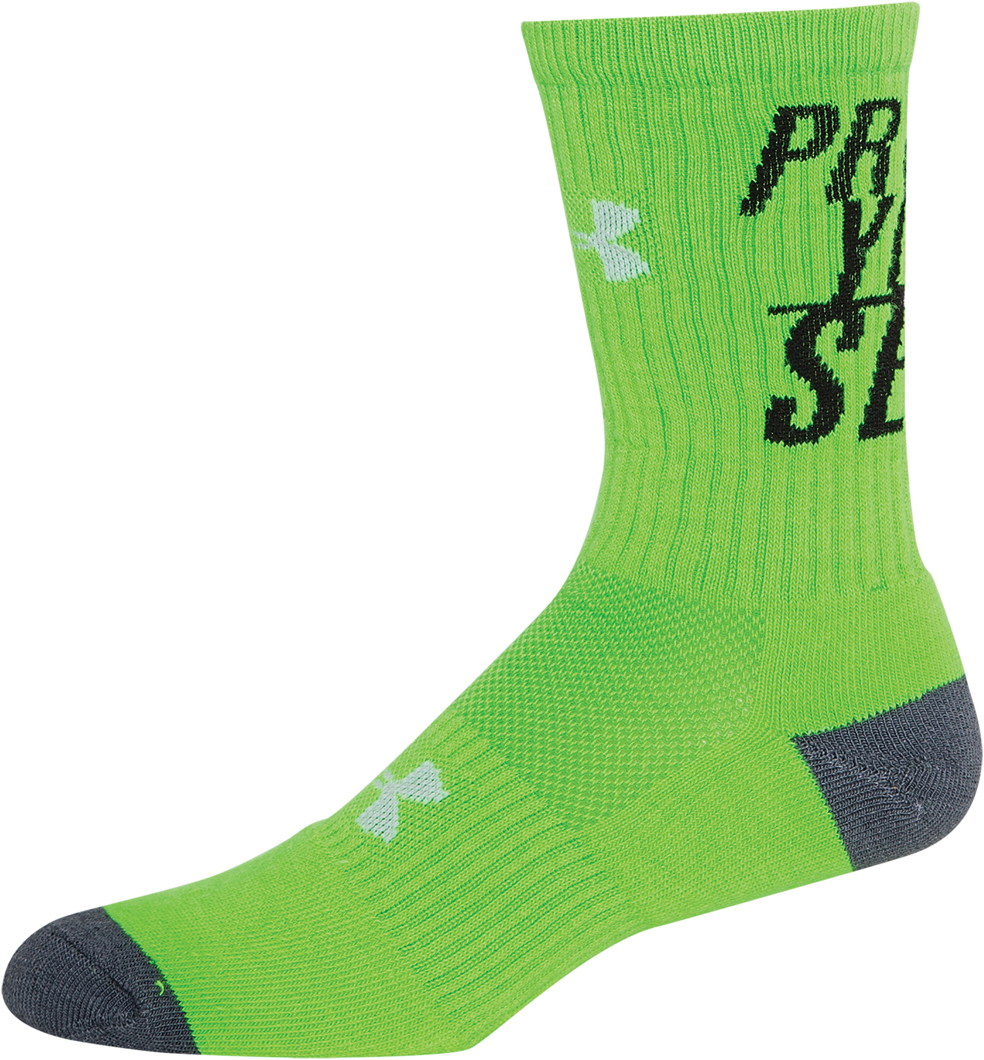 Men's UA Prove Yourself Crew Socks, HYPER GREEN, zoomed image