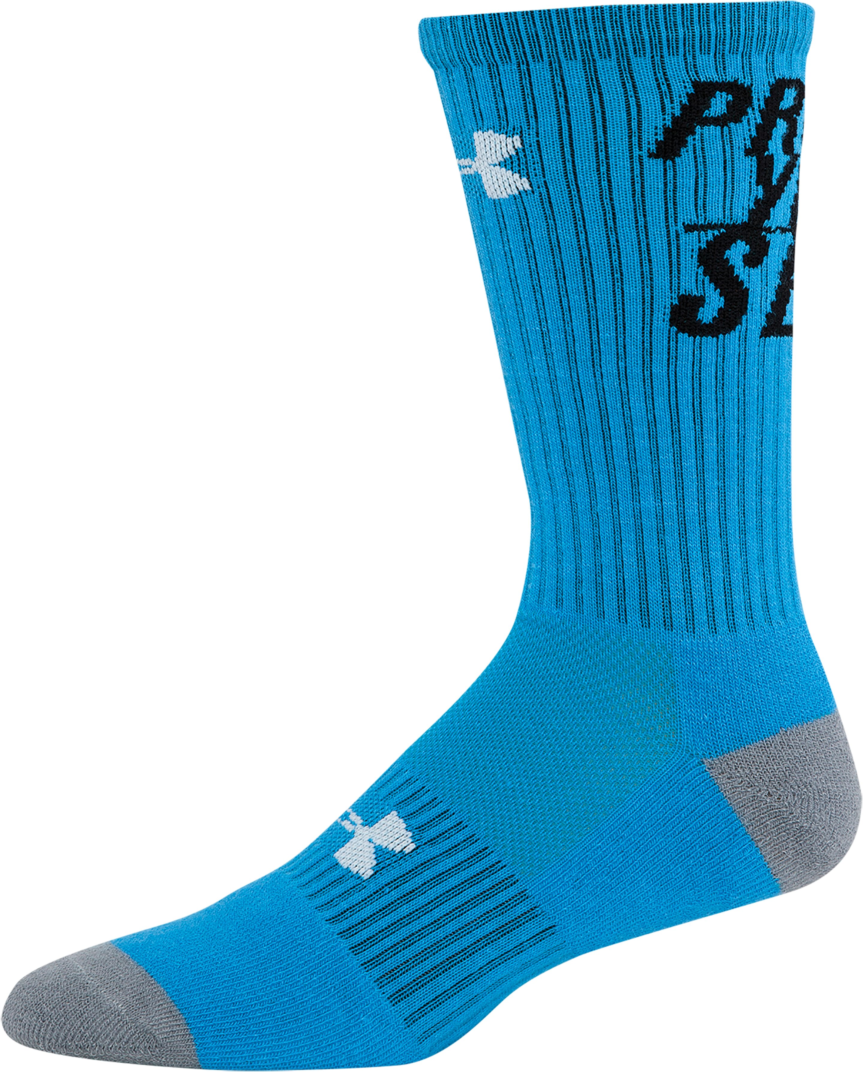 Men's UA Prove Yourself Crew Socks, ELECTRIC BLUE, zoomed image