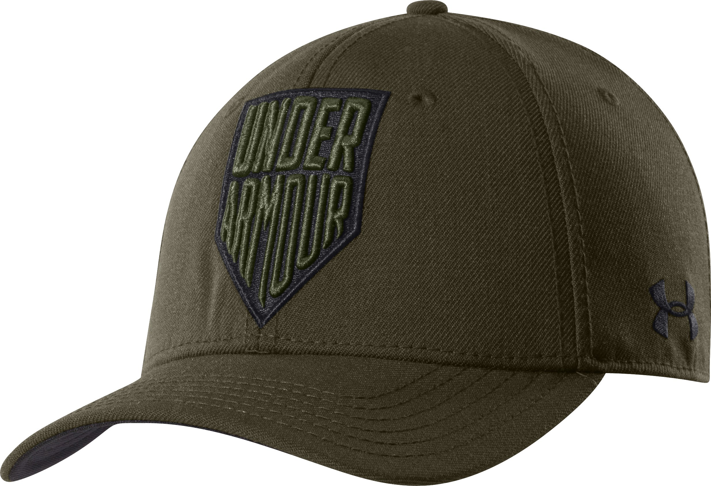 Men's UA Shield Logo Stretch Fit Cap, Forest Green,