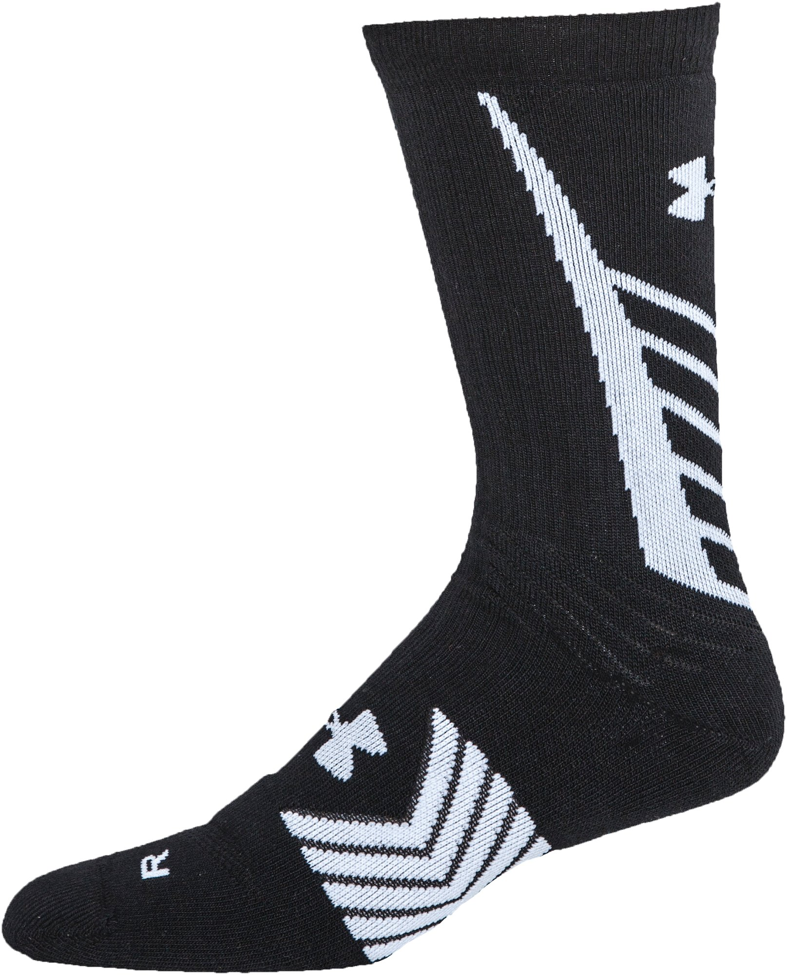 Men's UA Undeniable Crew Socks, Black , undefined