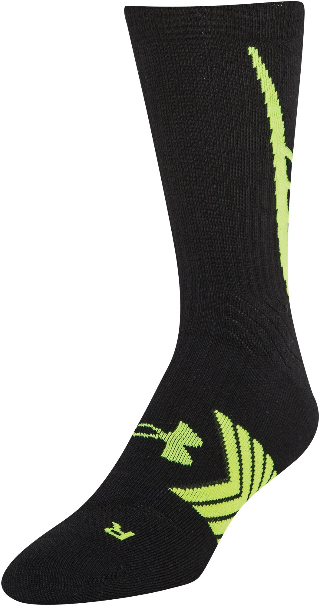 Boys' UA Undeniable Crew Socks, Black , zoomed image