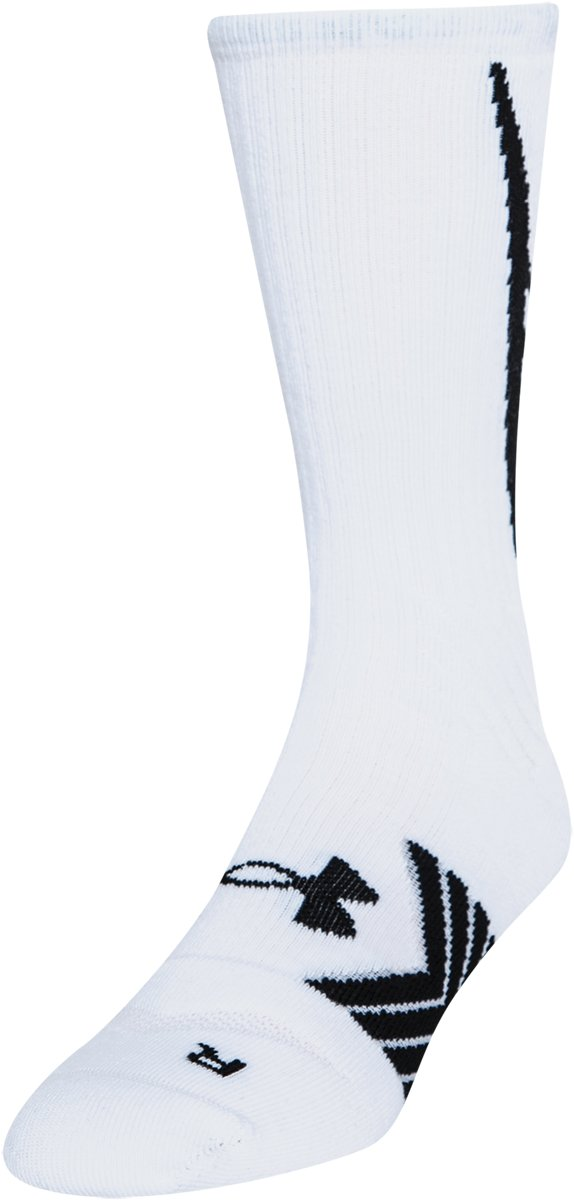 Boys' UA Undeniable Crew Socks, White, zoomed image
