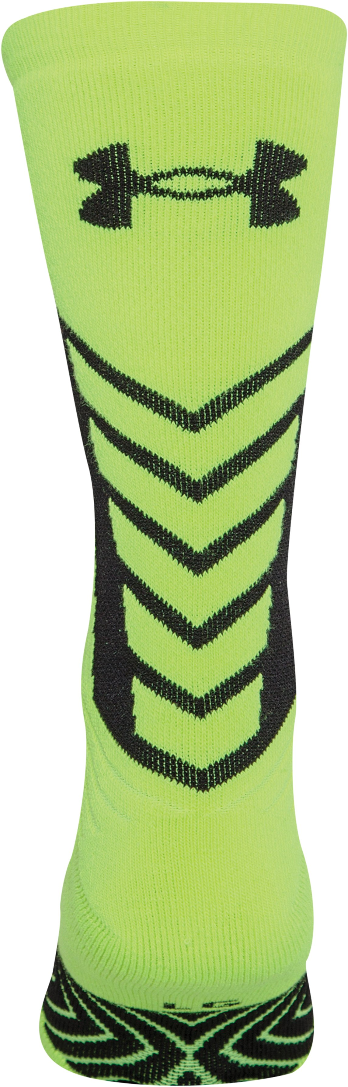 Boys' UA Undeniable Crew Socks, High-Vis Yellow, undefined