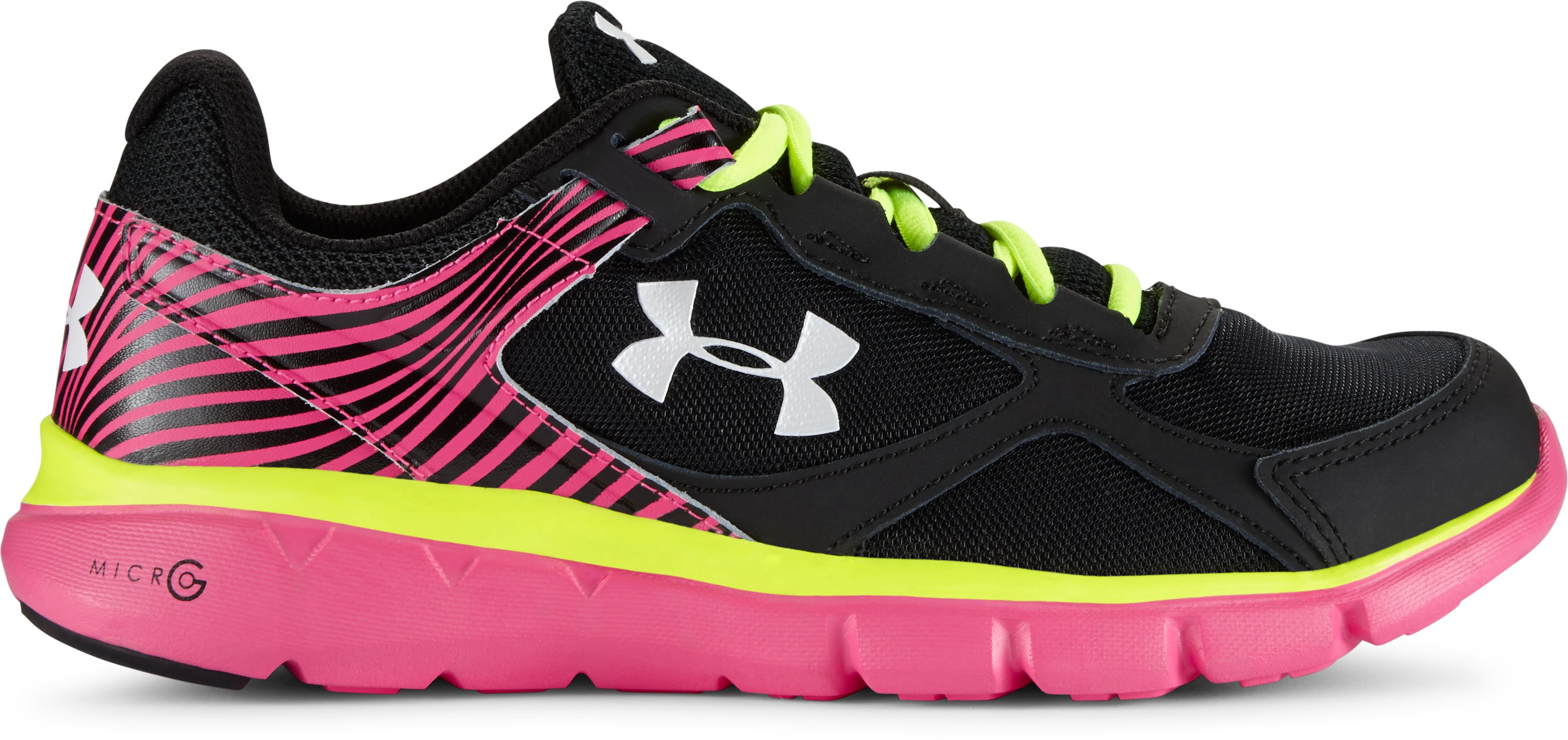 Girls' Grade School UA Micro  G® Velocity Running Shoes , Black , undefined