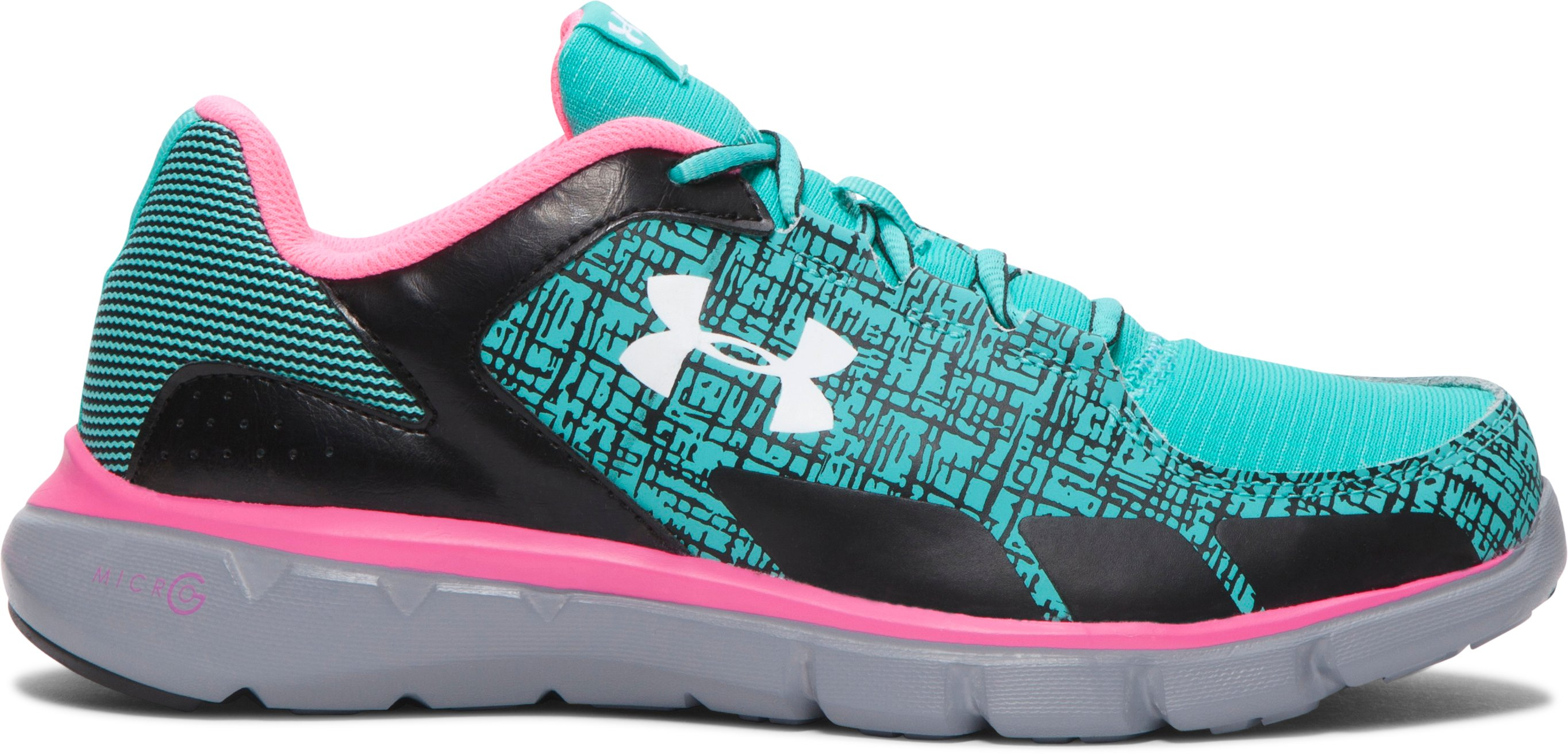 Girls' Grade School UA Micro G® Velocity Grit Running Shoes , NEPTUNE, zoomed image