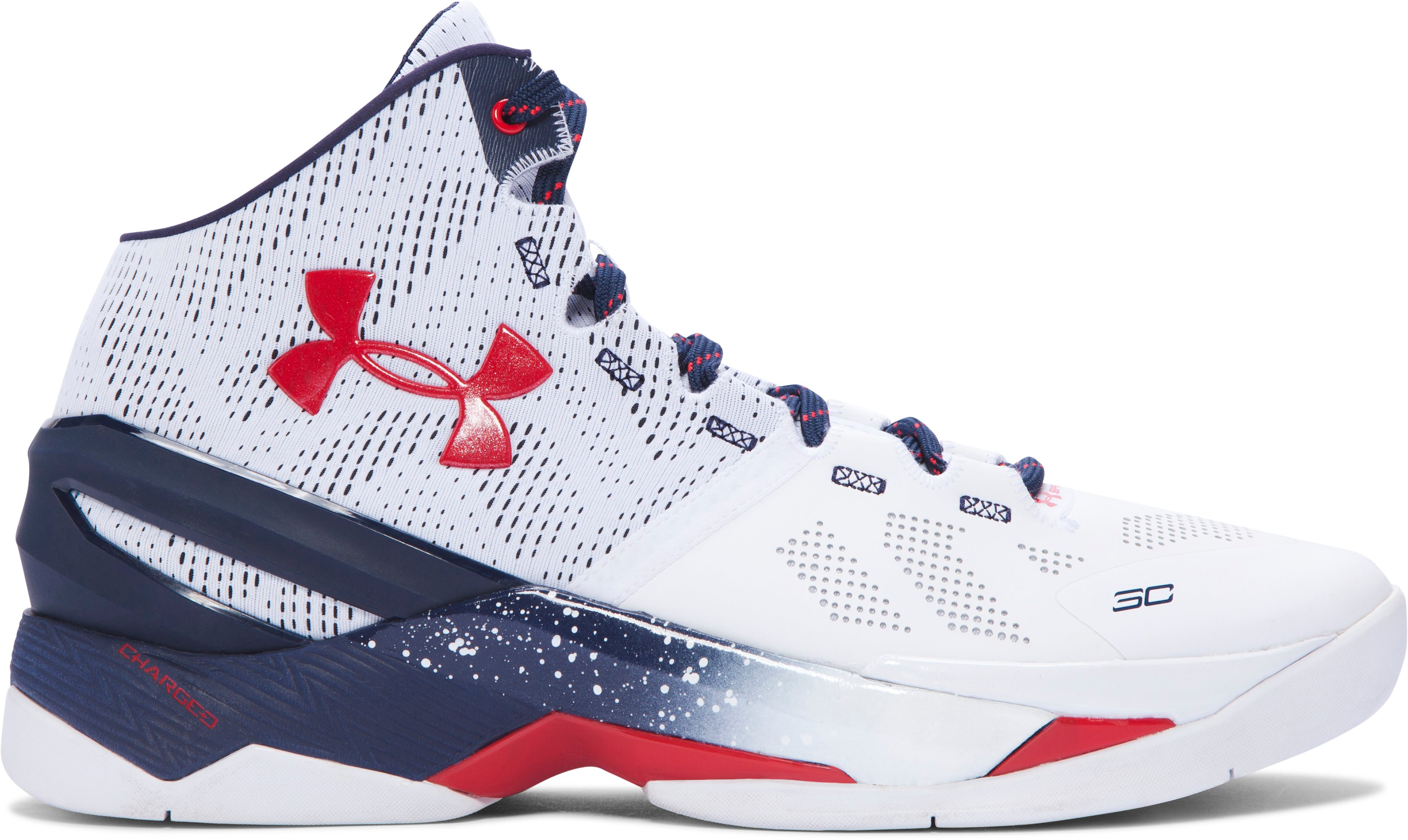 Men's UA Curry Two Basketball Shoes, Red, White & Blue
