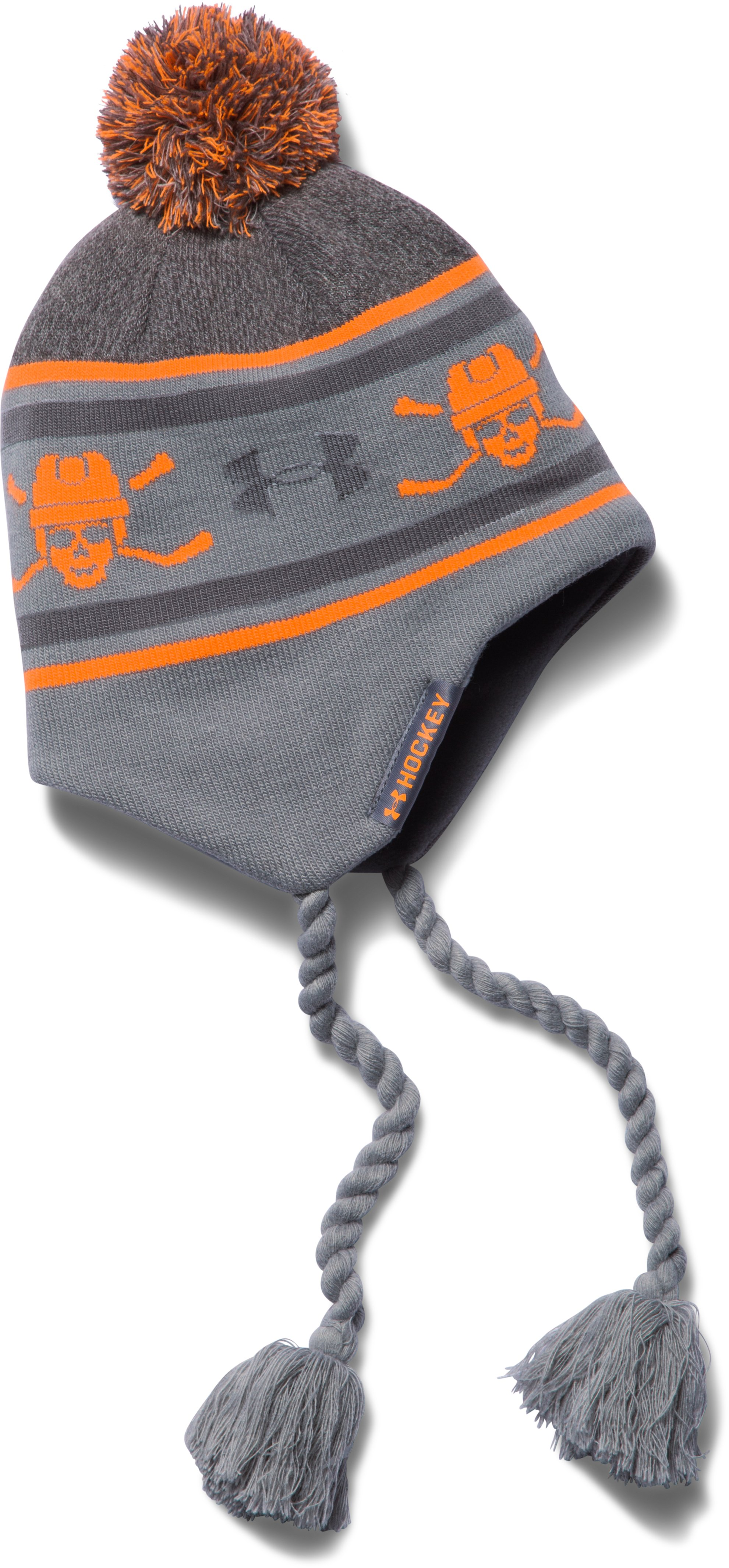 Boys' UA Hockey Tassle Beanie, Steel, zoomed image