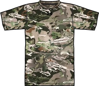 UA Early Season SS Tech T, UA Forest Camo, zoomed