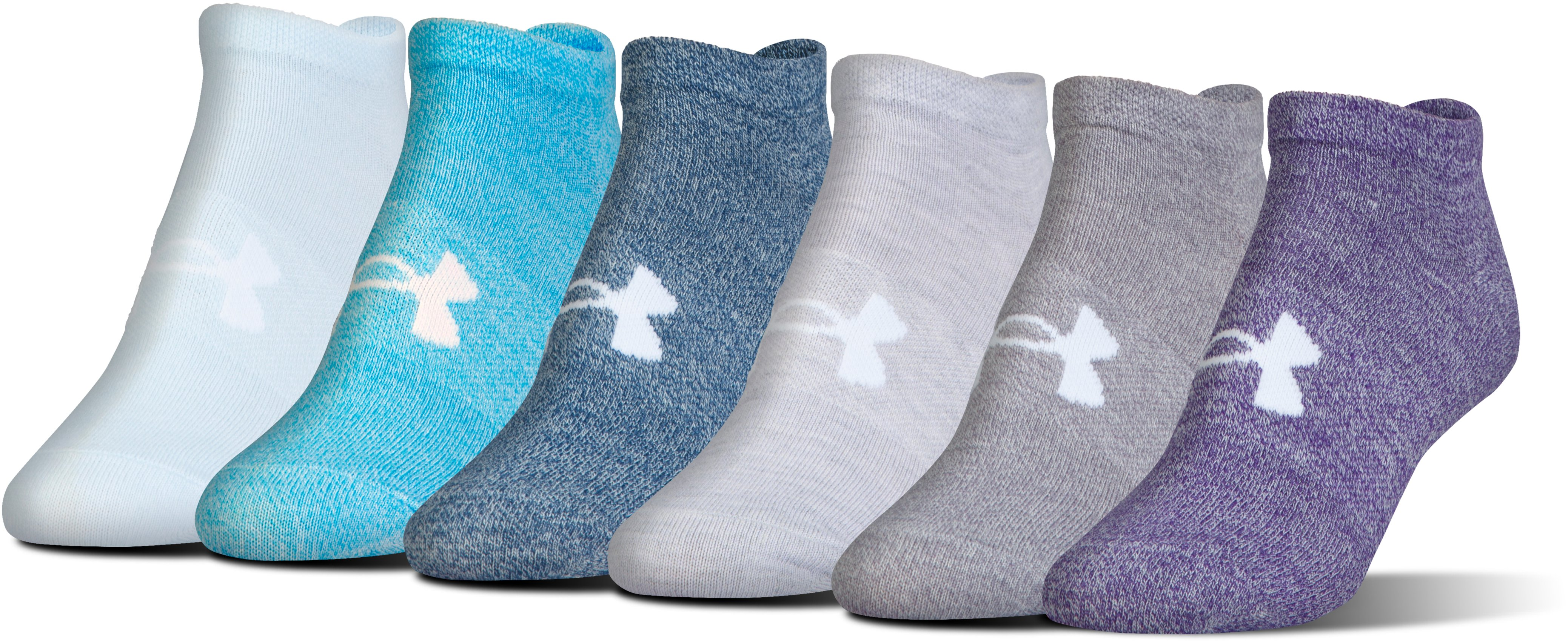 Women's UA Big Logo No-Show Socks – 6-Pack, PURPLE EMERITE