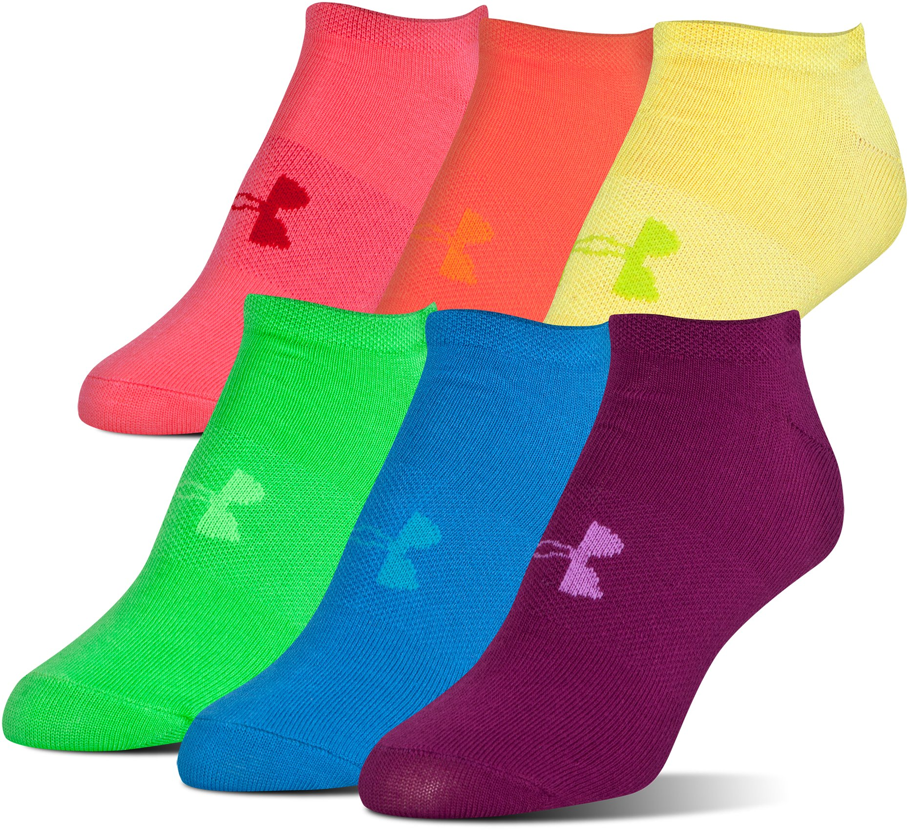 Women's UA Big Logo No-Show Socks – 6-Pack, Assorted, undefined