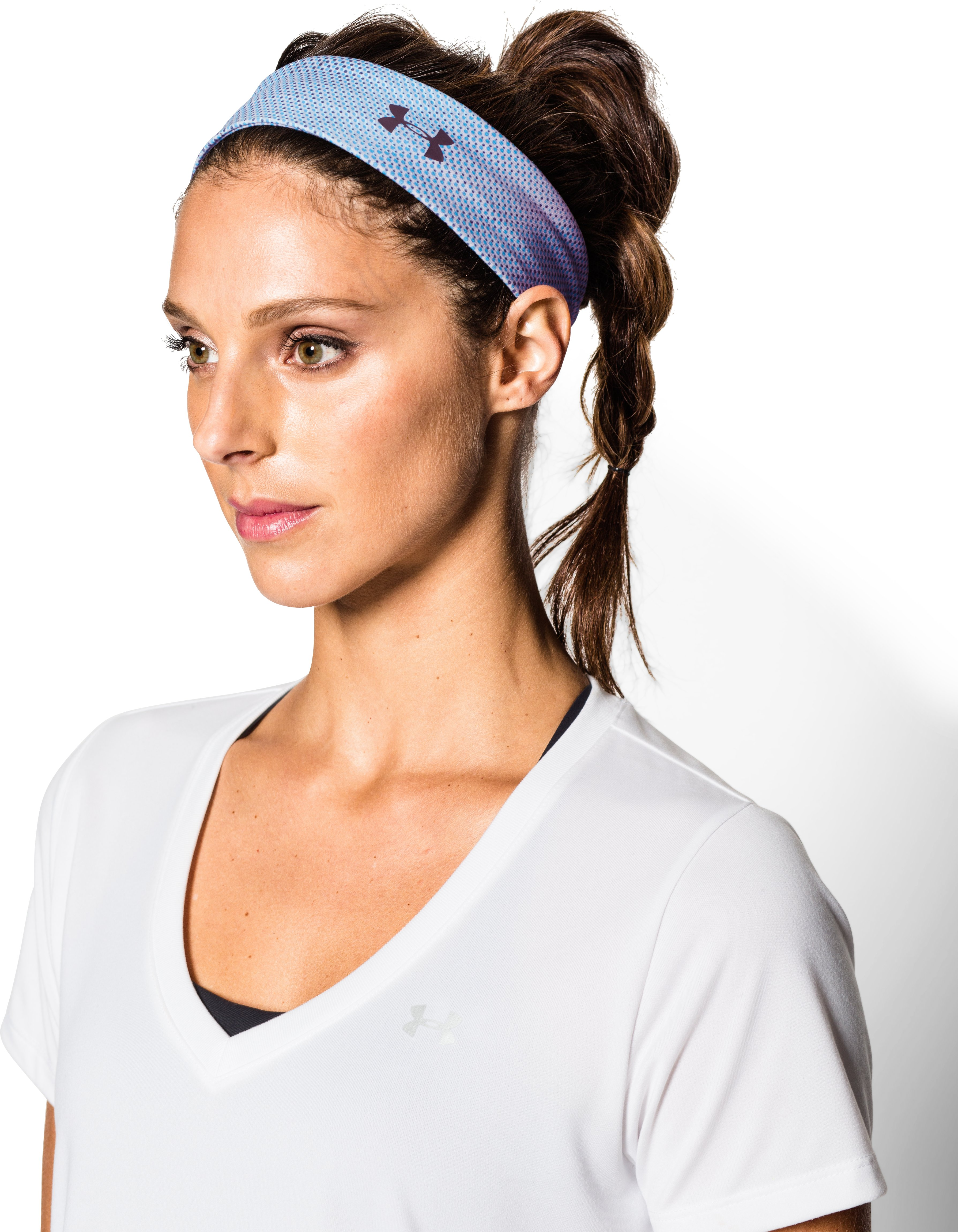 Women's UA Studio Performance Printed Headband, REBEL PINK