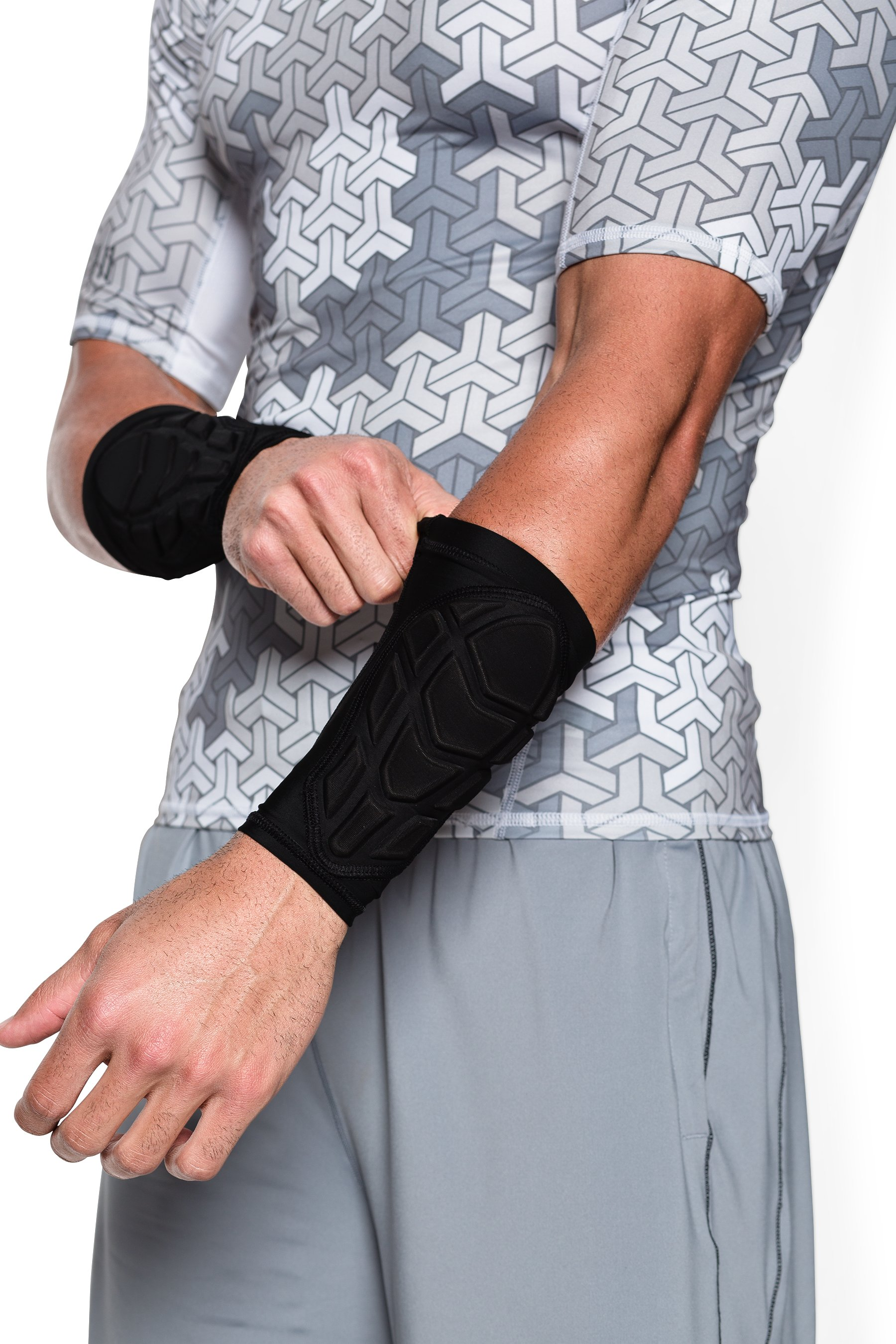 Men's UA Football Padded Forearm Sleeve, Black , undefined