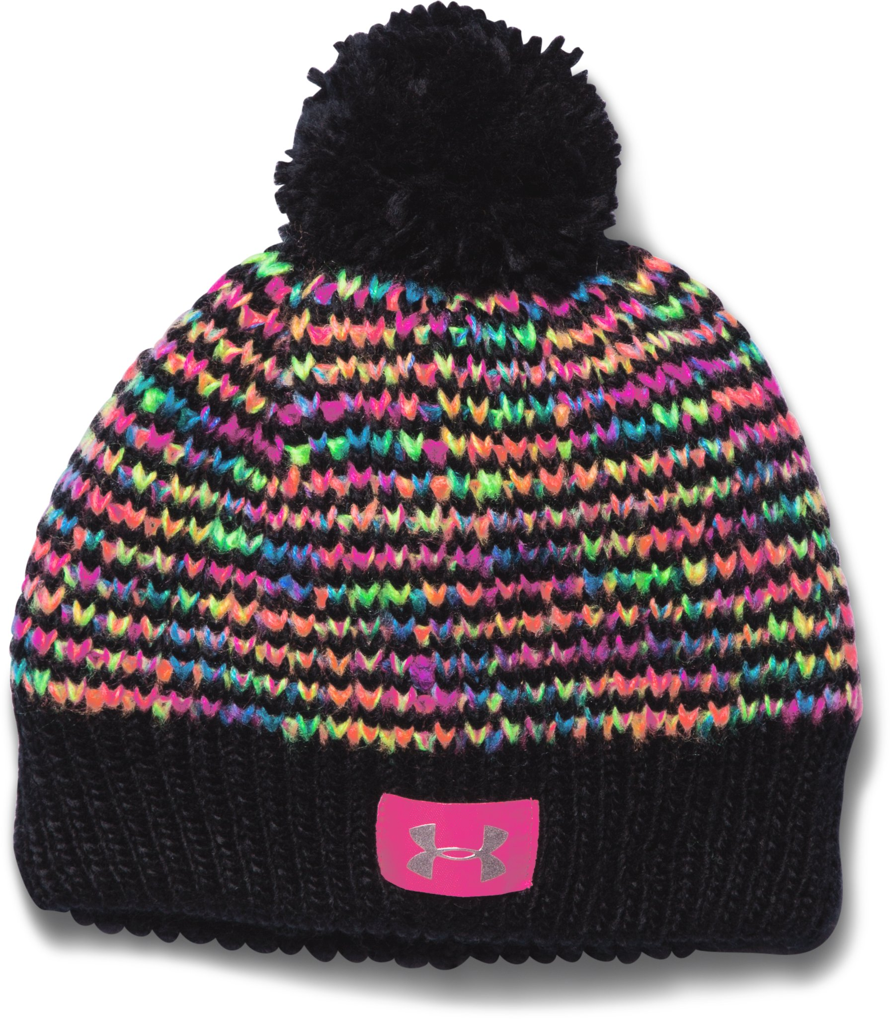 Girls' UA Speckle Beanie, Black , zoomed image