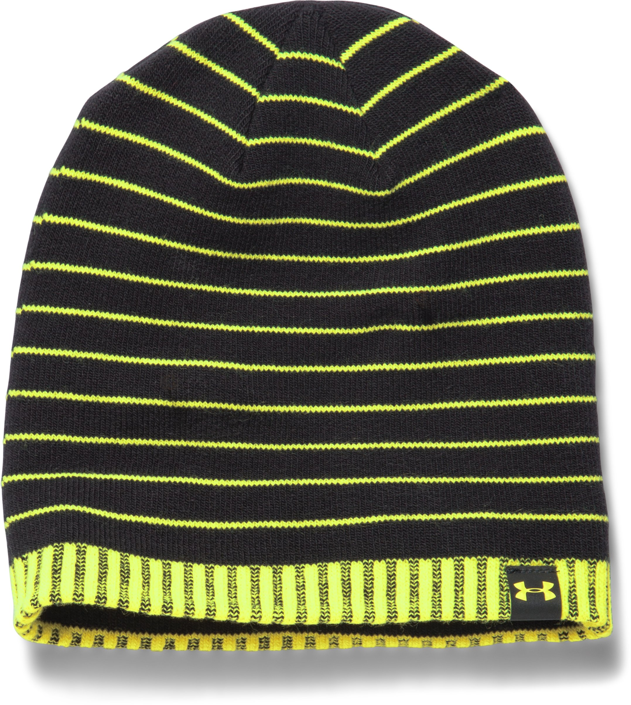 Boys' UA Cuff Stripe Beanie, Black